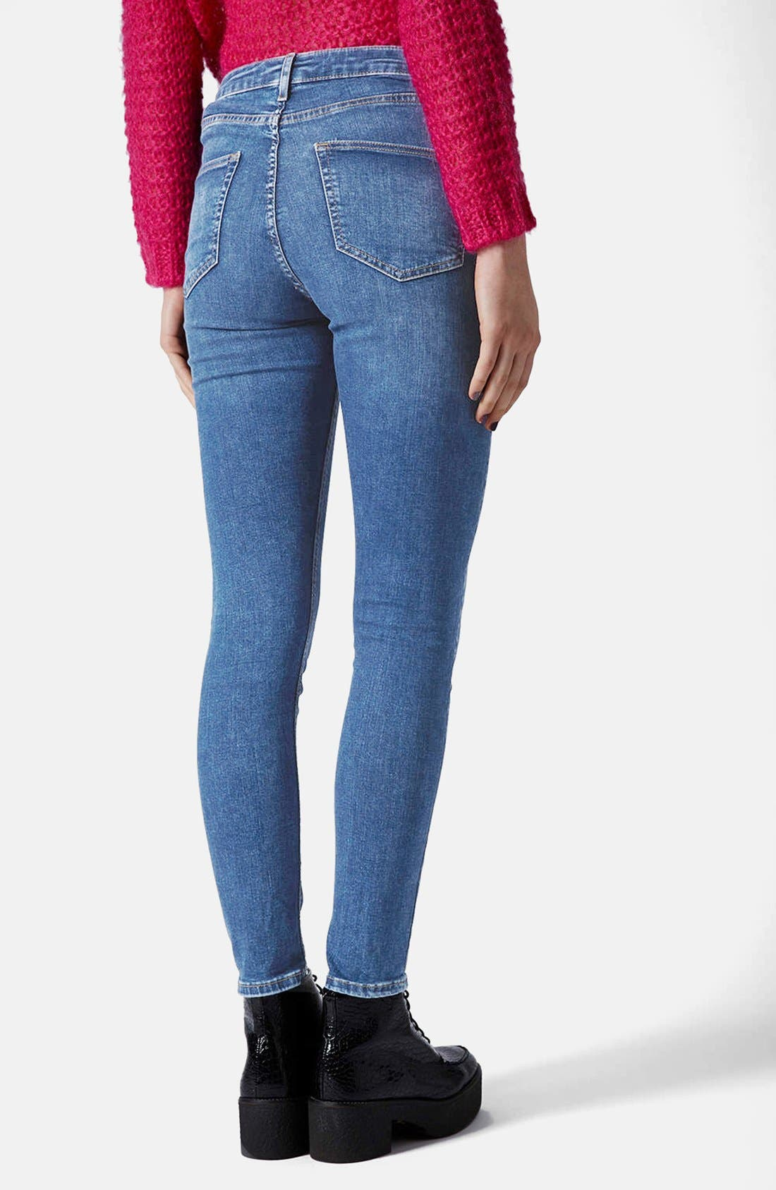 Alternate Image 2  - Topshop Moto 'Jamie' Skinny Jeans (Blue) (Regular & Short)