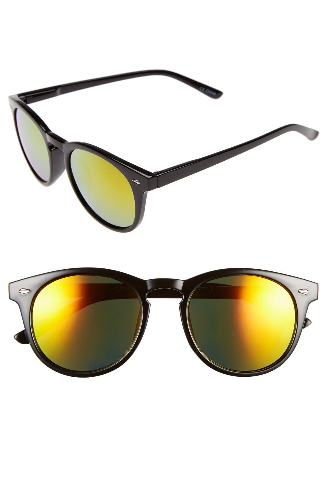 Main Image - Sole Society 'Kate' 48mm Round Mirrored Sunglasses