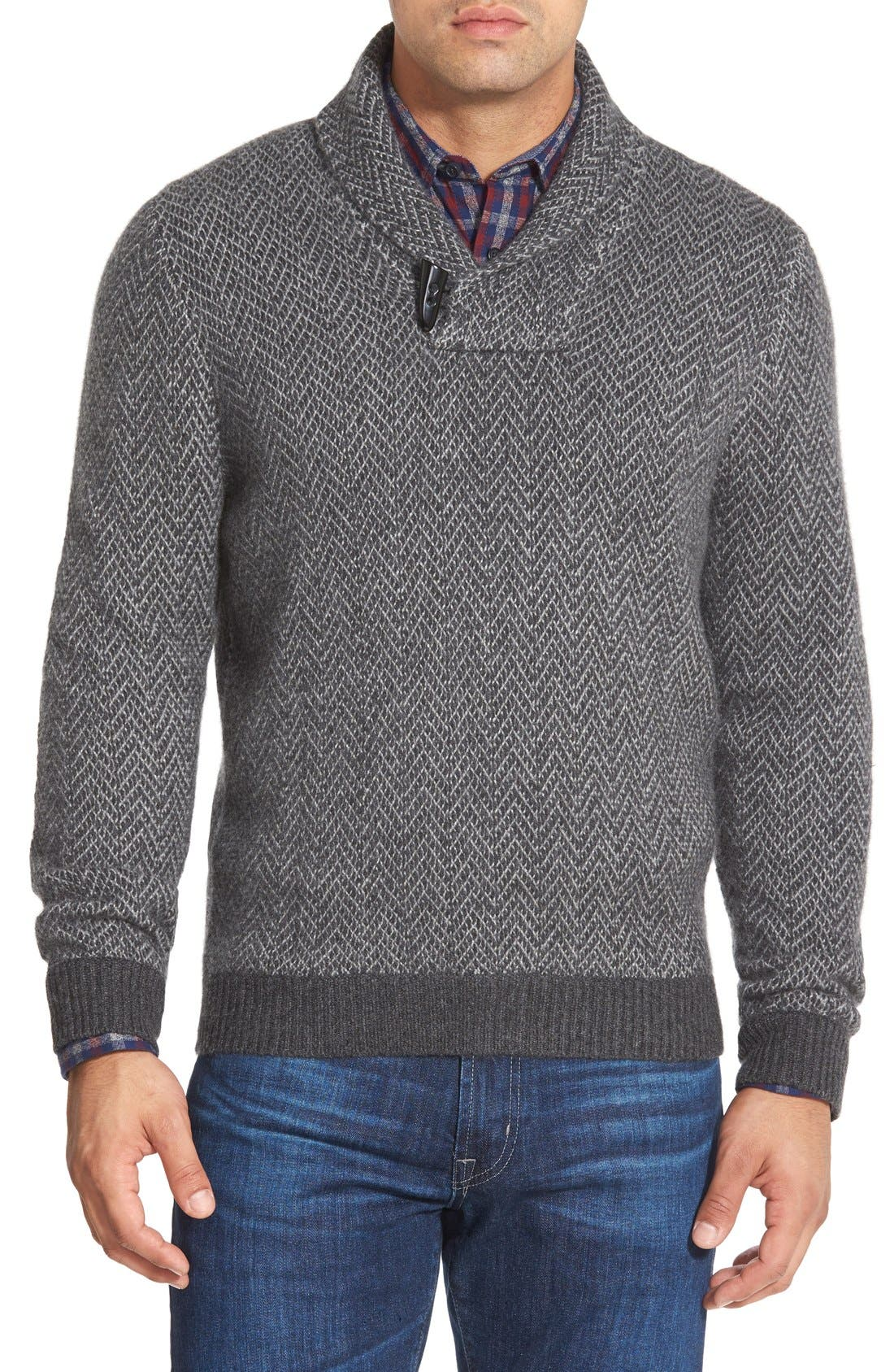 Main Image - John W. Nordstrom® Shawl Collar Cashmere Sweater (Regular & Tall)