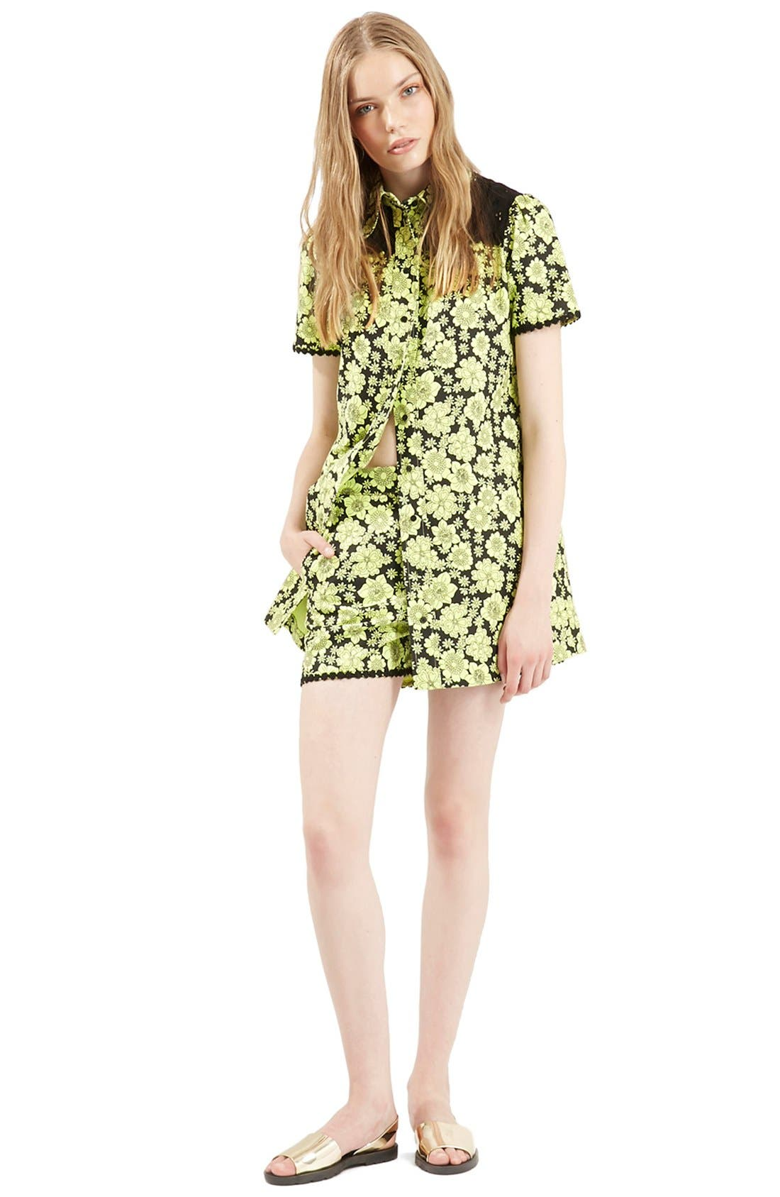 Alternate Image 5  - Topshop Archive Collection ''60s Floral Psyche' High Rise Shorts