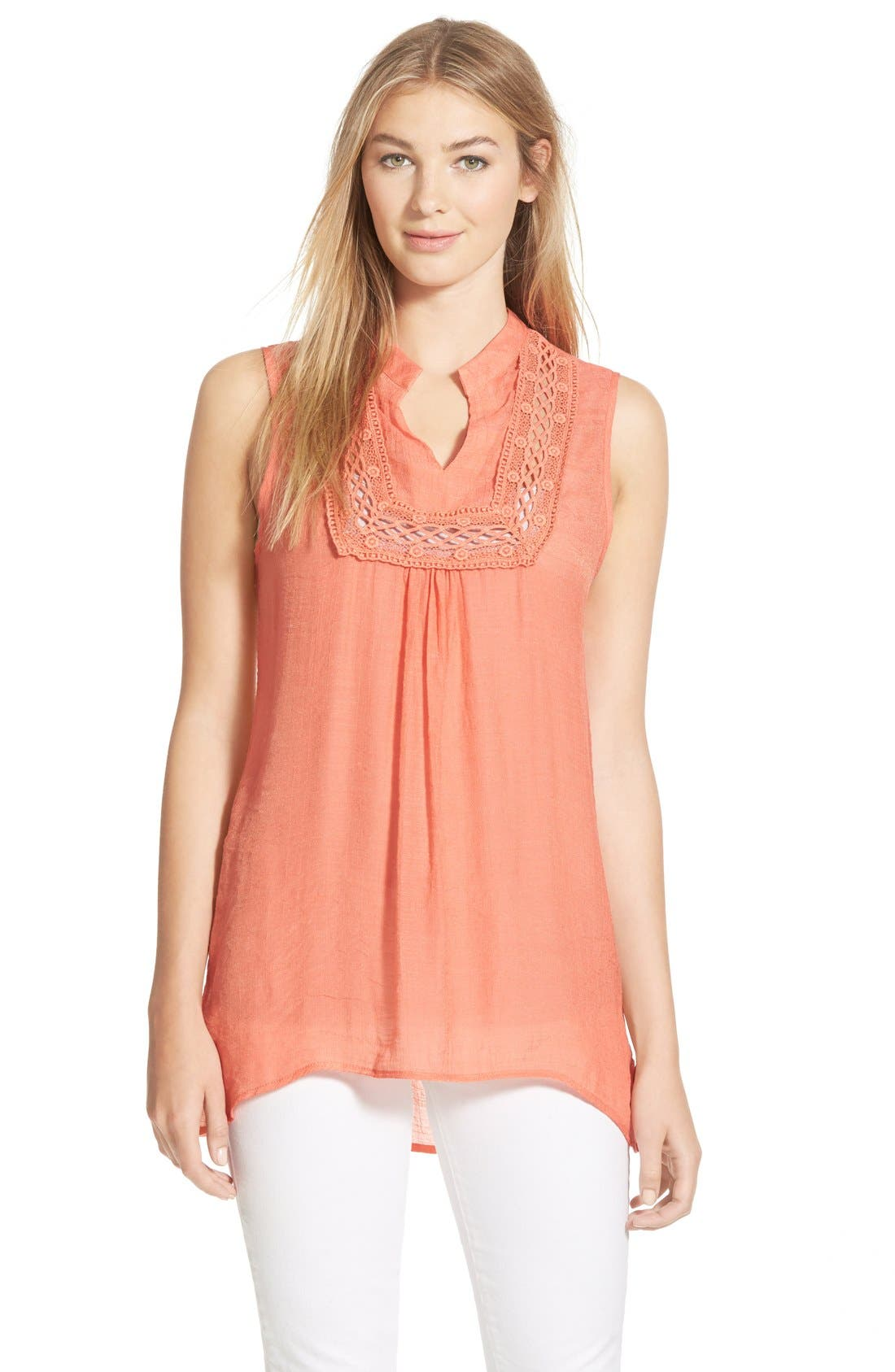 Alternate Image 1  - Bobeau Crochet Inset Sleeveless Top