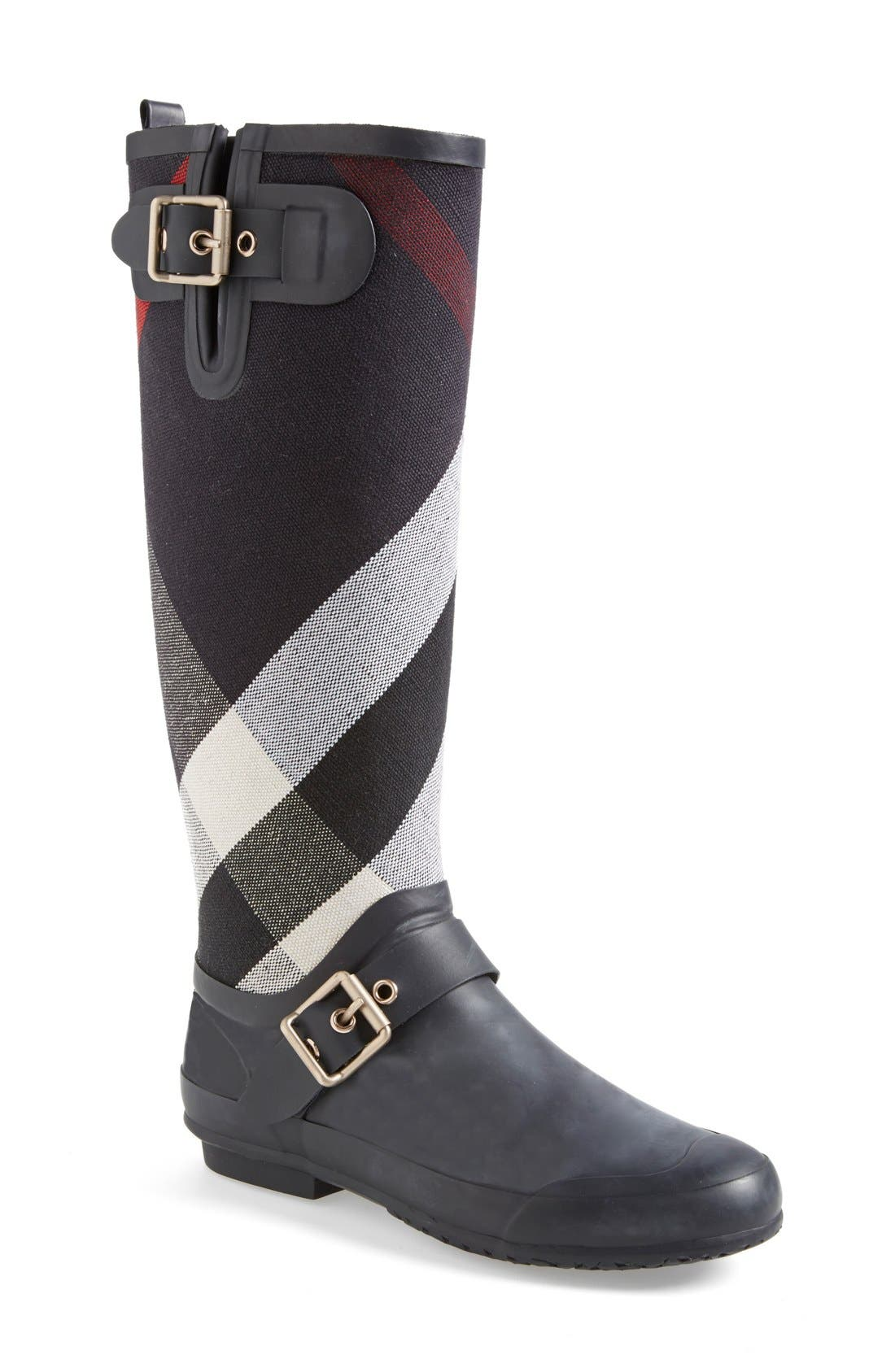 Alternate Image 1 Selected - Burberry 'Birkback' Rain Boot (Women) (Wide Calf)