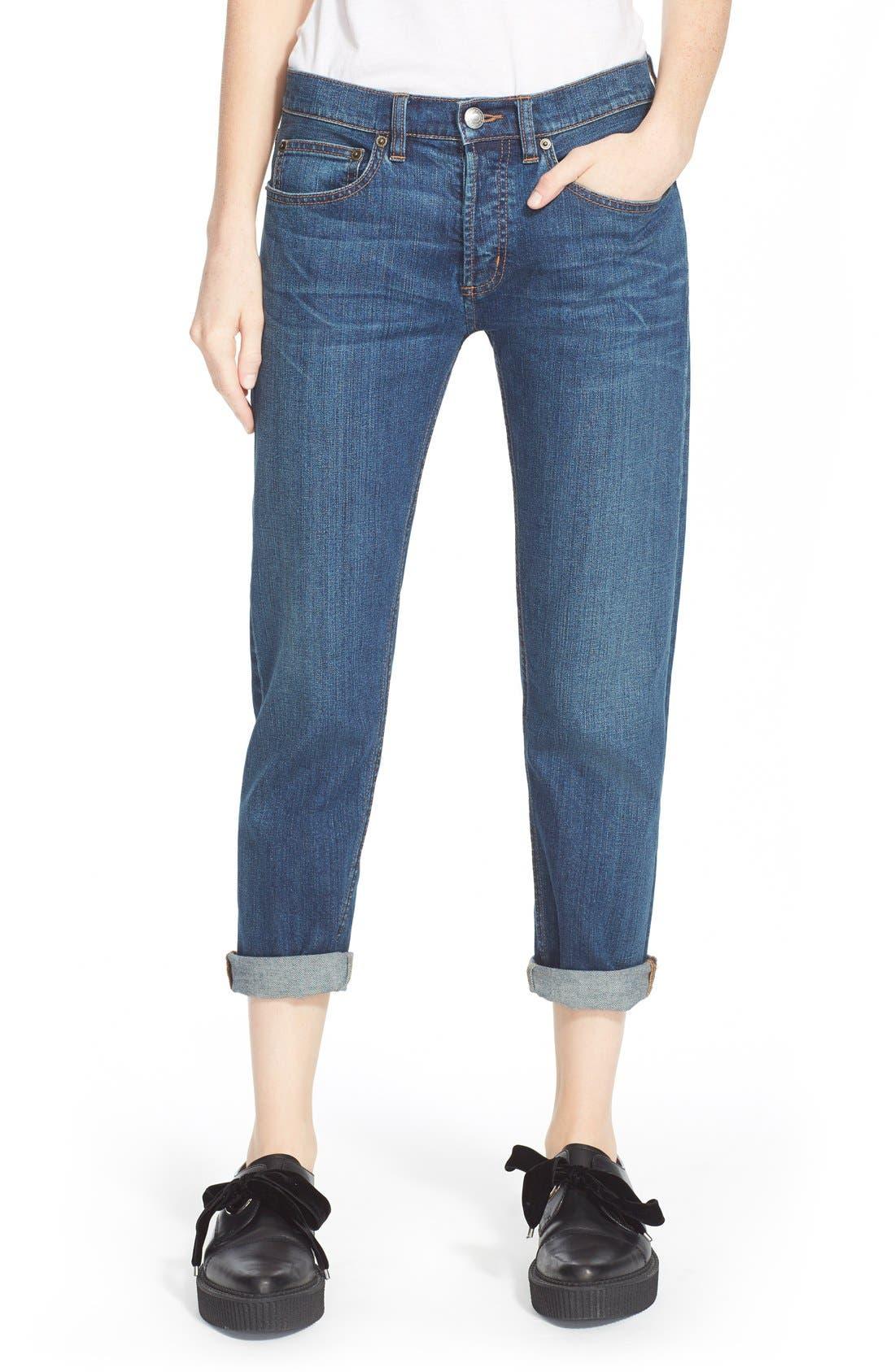 Main Image - MARC BY MARC JACOBS Slim Crop Boyfriend Jeans (Vintage Blue)