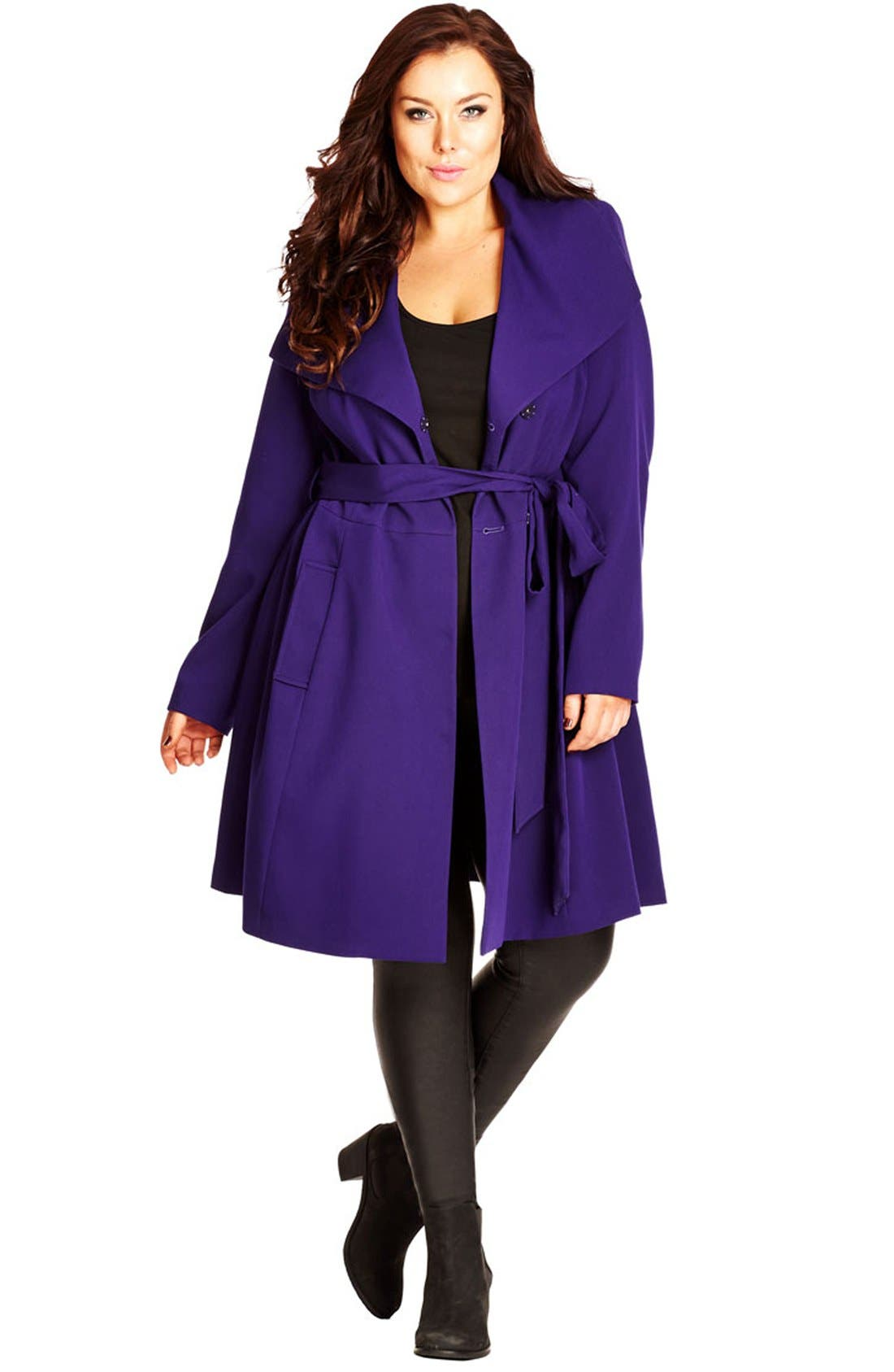 Main Image - City Chic 'So Chic' Colored Trench Coat (Plus Size)