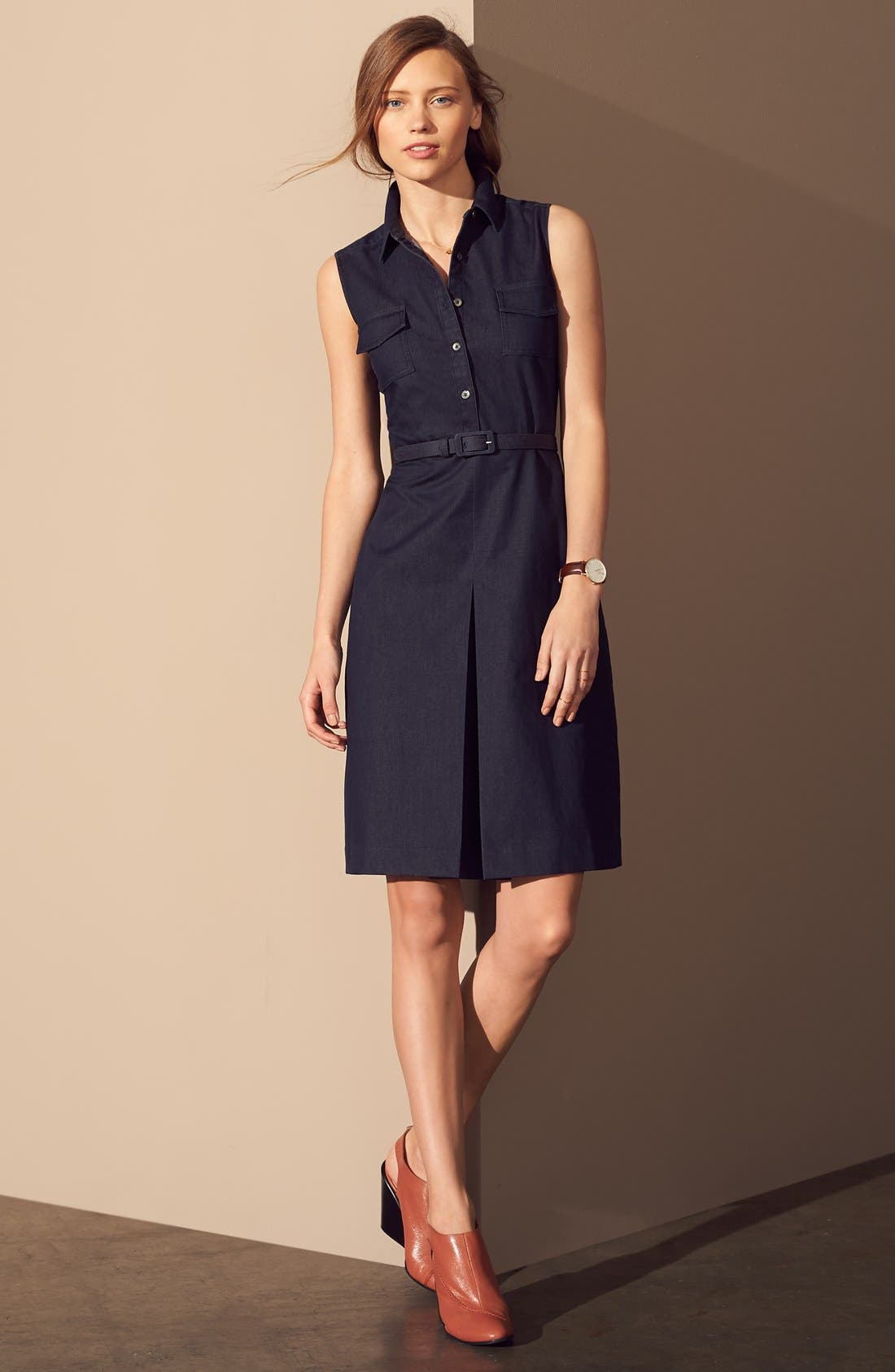 Alternate Image 4  - Halogen® Belted Sleeveless Shirtdress (Regular & Petite)