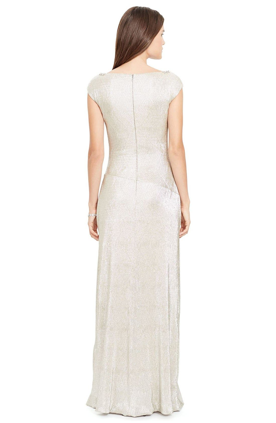 Alternate Image 2  - Lauren Ralph Lauren Embellished Metallic Knit Column Gown (Regular & Petite)