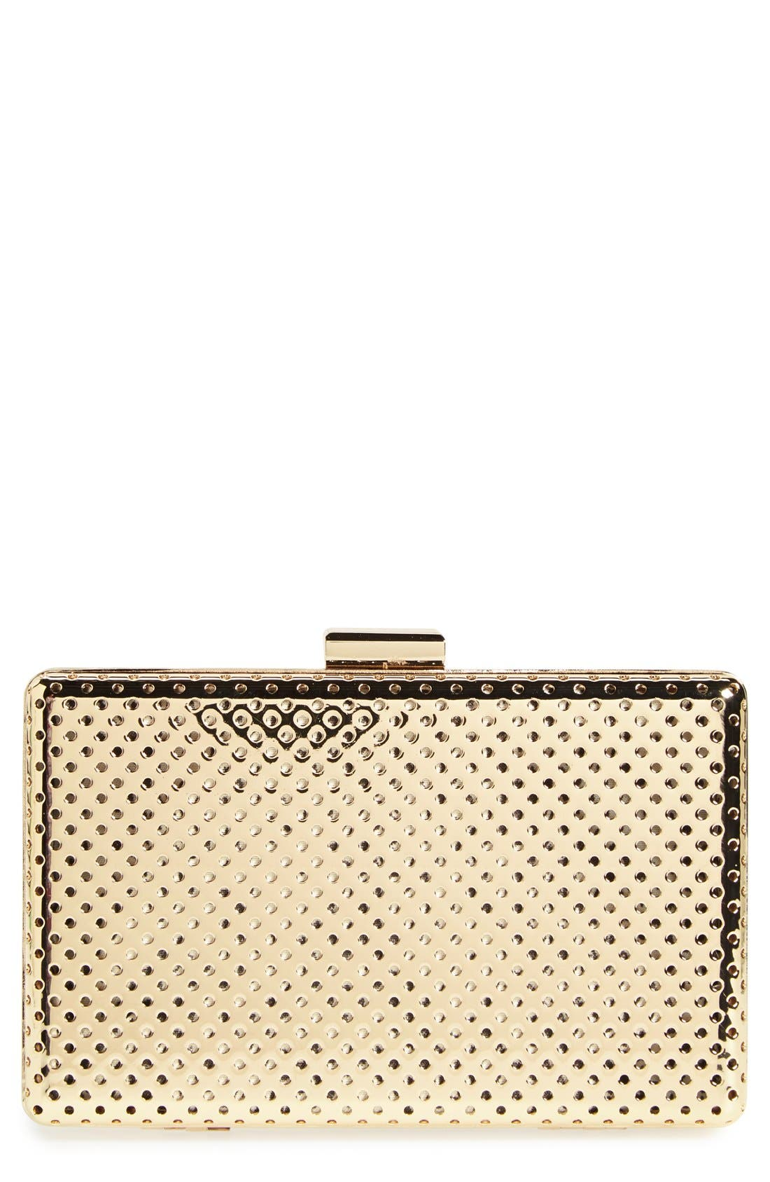 Main Image - Sole Society 'Raquelle' Perforated Metal Box Clutch