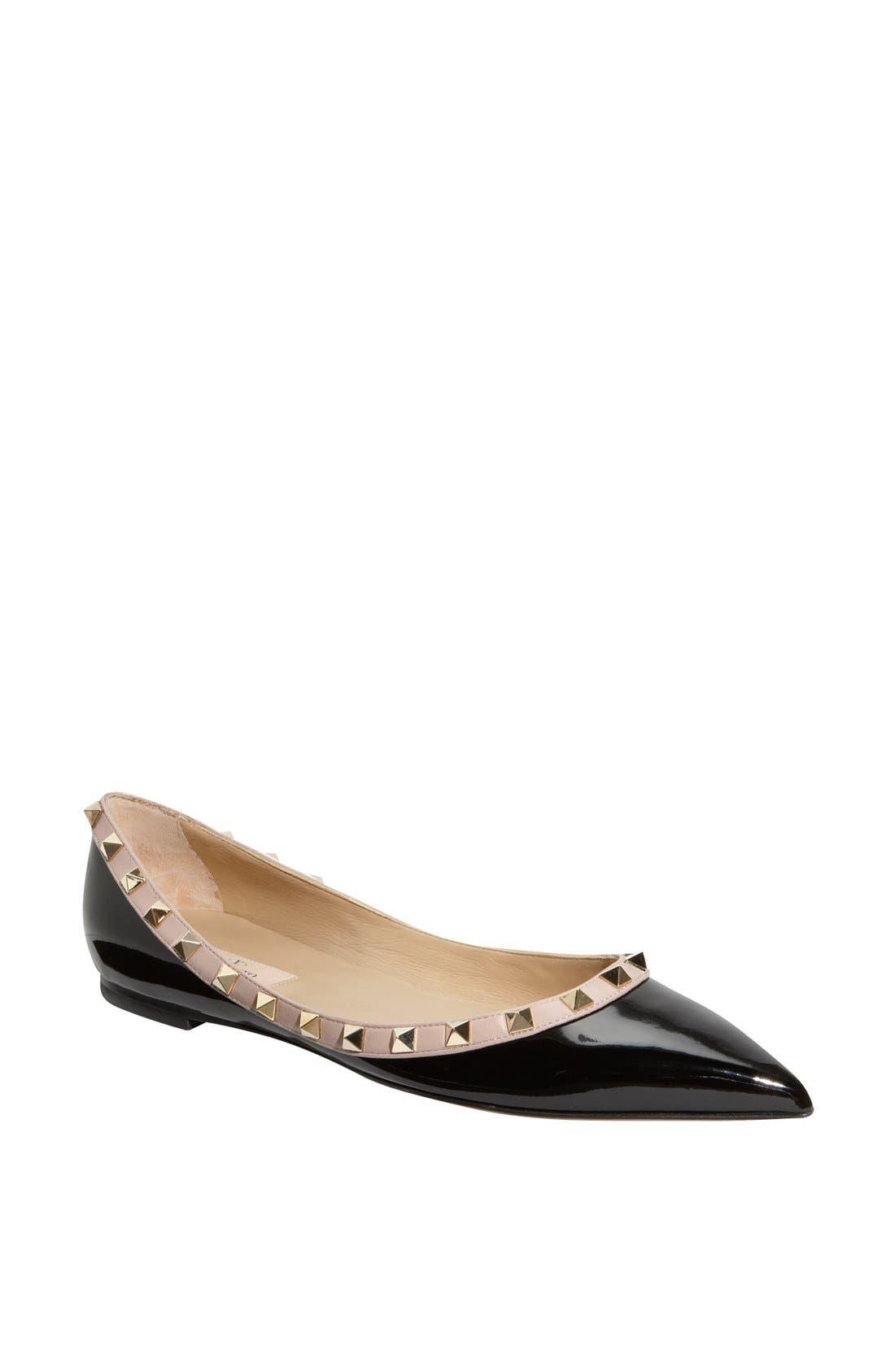 Alternate Image 1 Selected - Valentino Rockstud Ballerina Flat (Women)