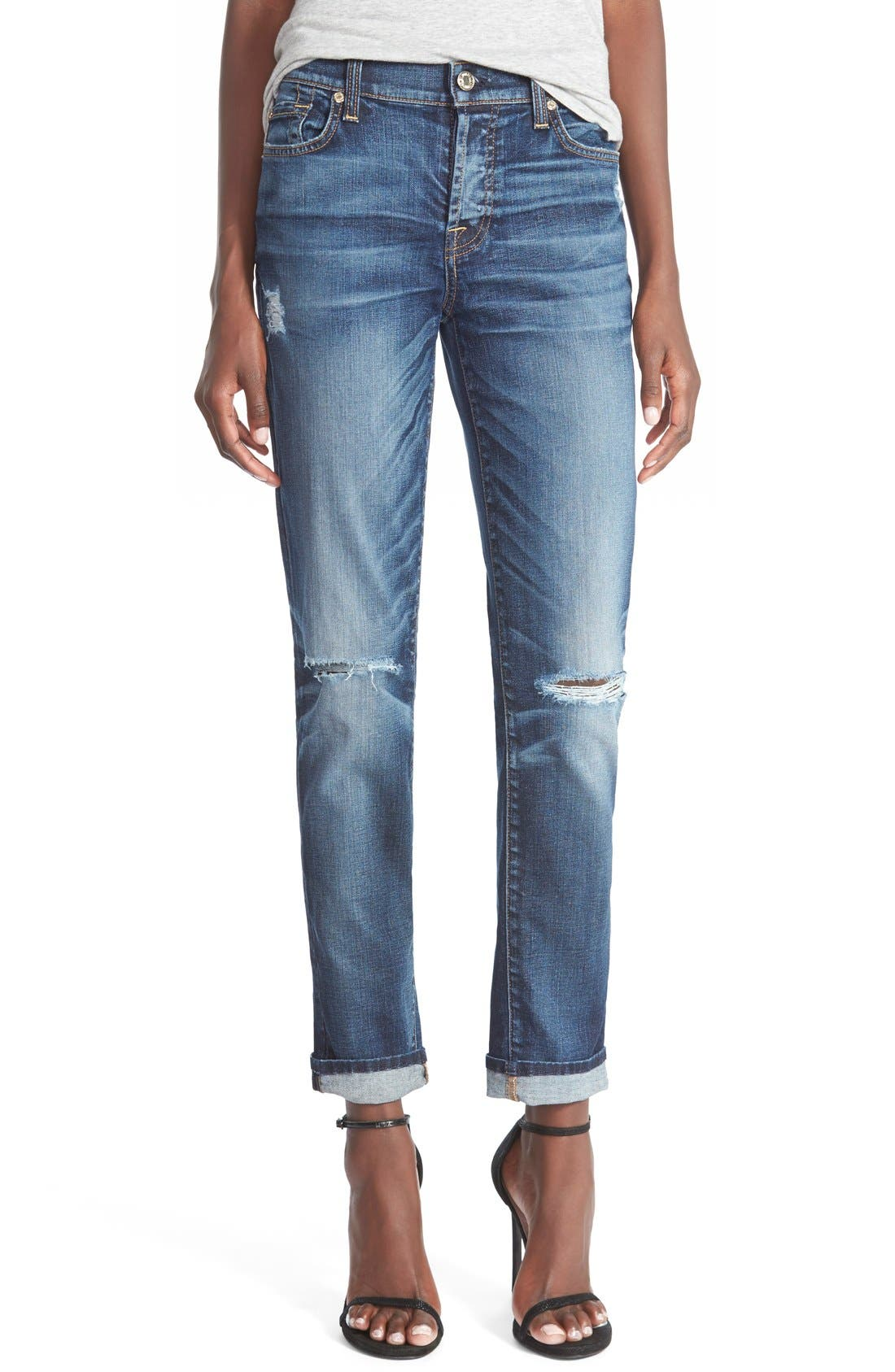 Main Image - 7 For All Mankind® 'Josefina' Mid Rise Boyfriend Jeans (Marie Vintage Blue 3)