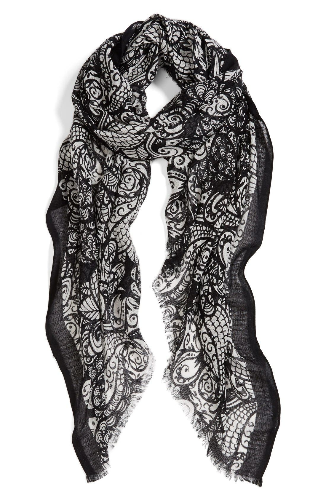Main Image - Halogen® 'Paisley Feather' Cotton & Wool Scarf