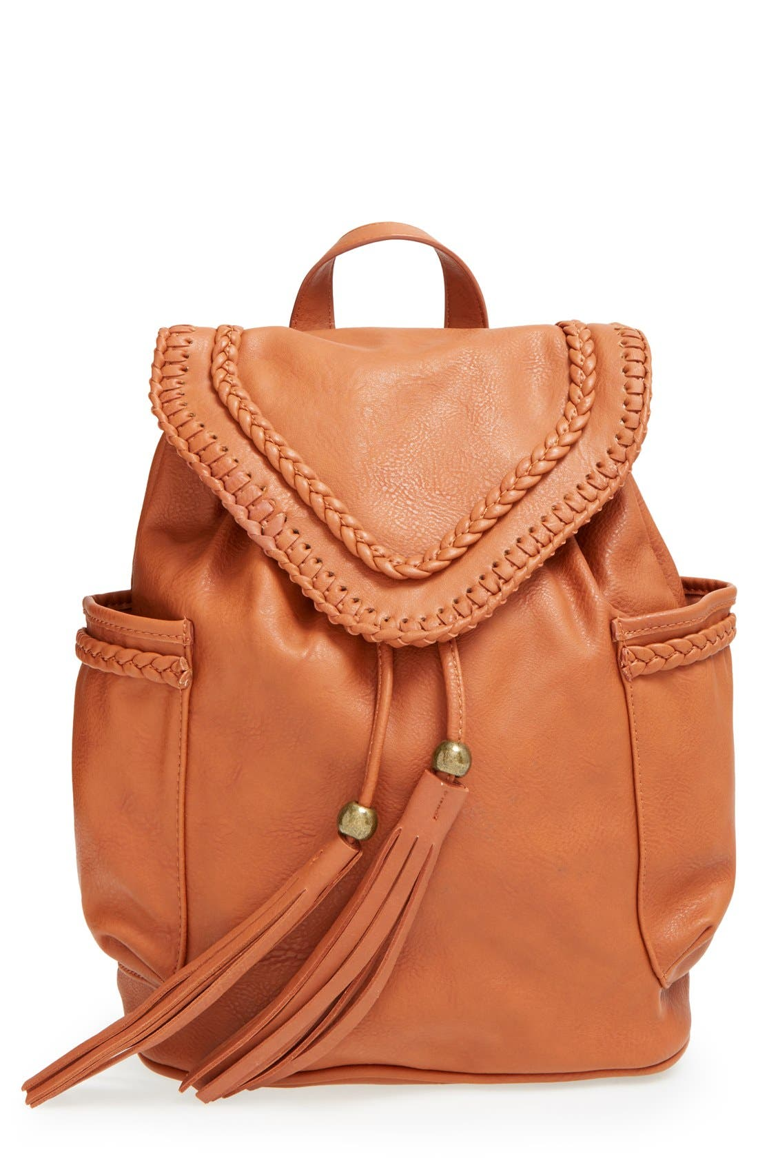 Alternate Image 1 Selected - Dolce Girl Braided Faux Leather Backpack