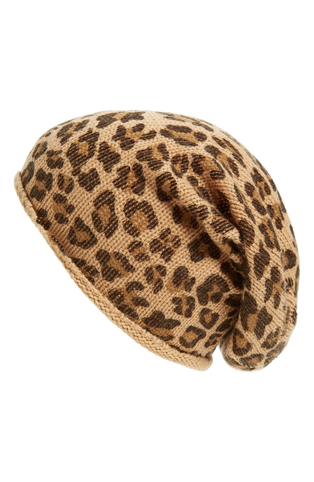 Main Image - David & Young Slouchy Leopard Print Beanie