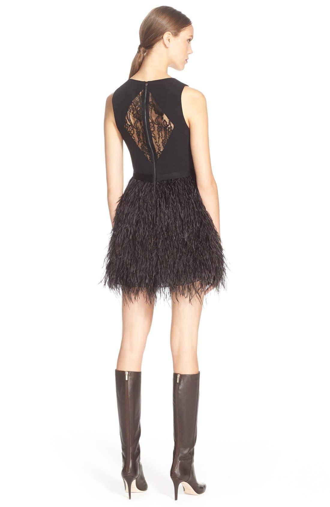 Alternate Image 2  - Alice+Olivia'Kiara'FeatherSkirt Fit & Flare Dress
