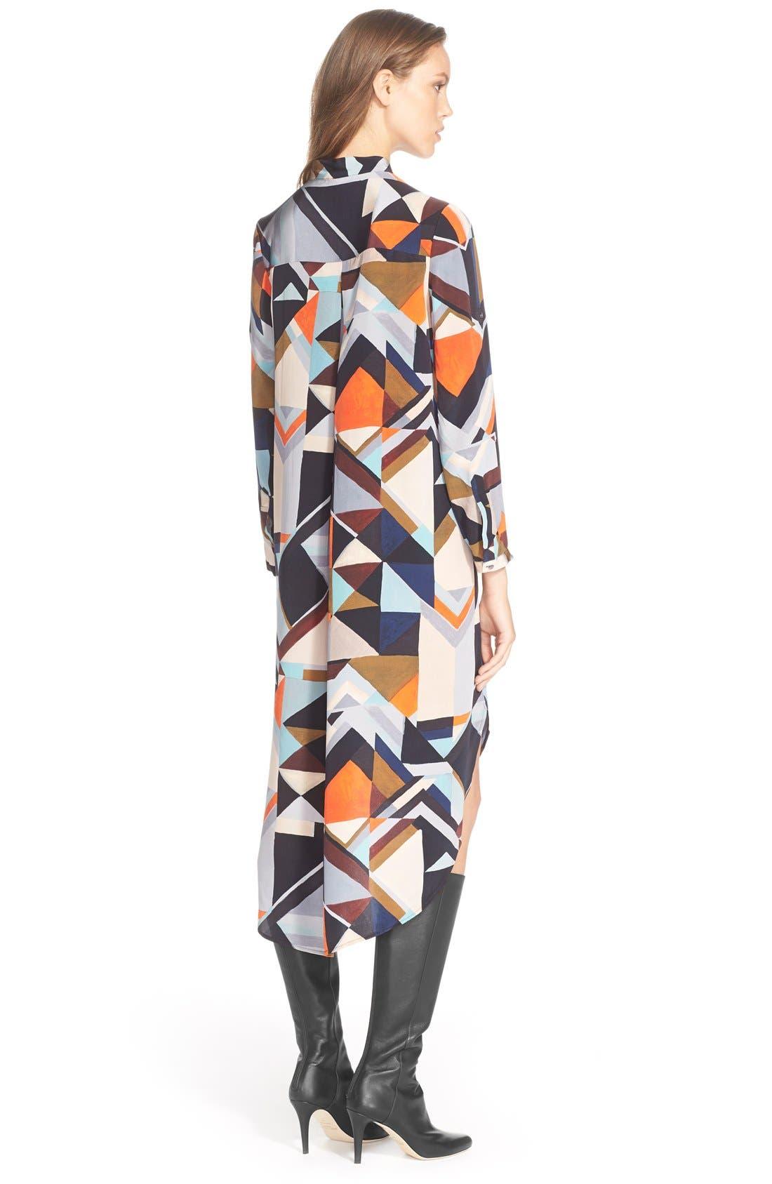 Alternate Image 2  - Foundrae Long Sleeve Print SilkShirtdress