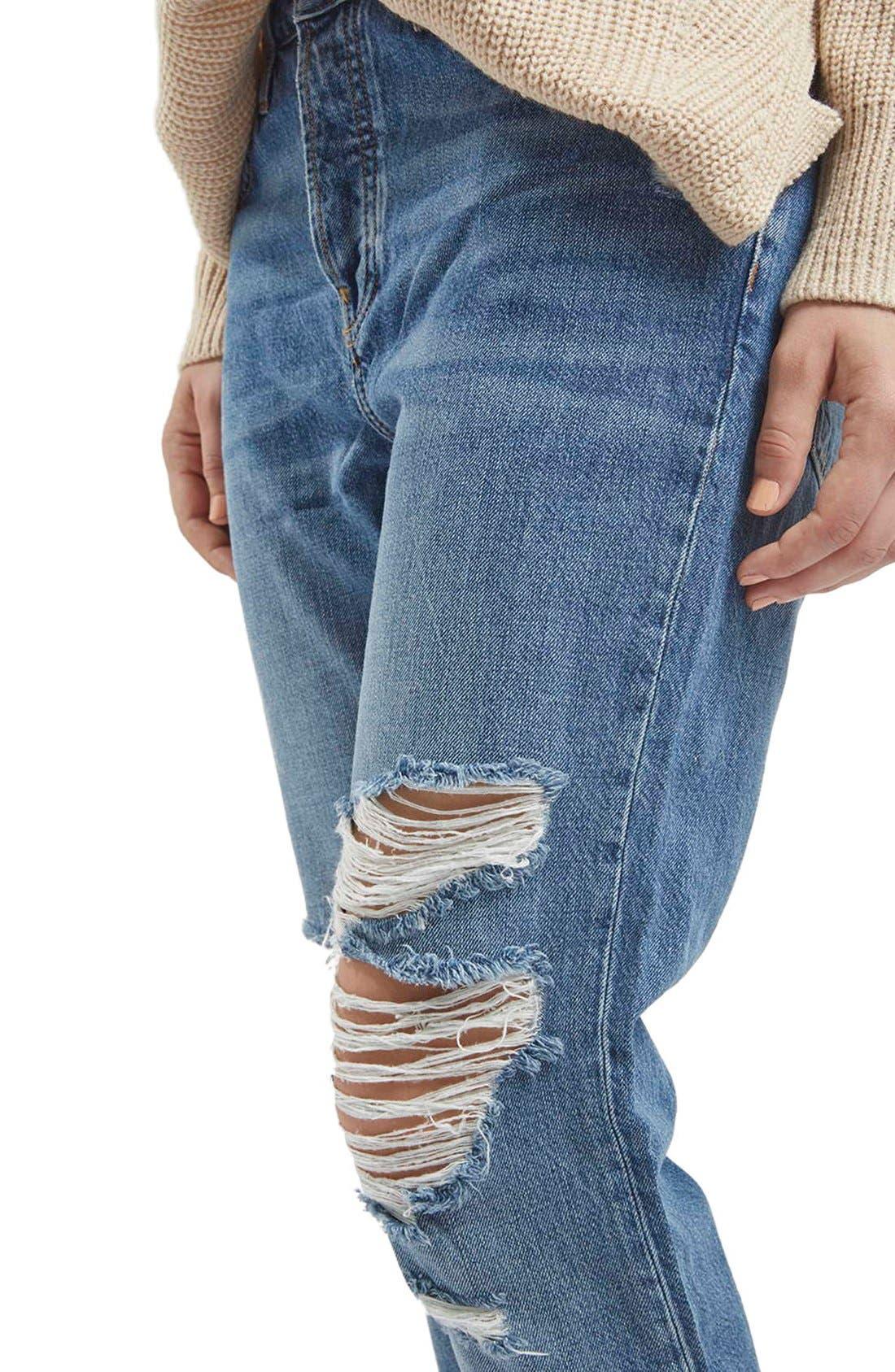 Alternate Image 5  - TopshopMoto'Hayden' Ripped Boyfriend Jeans (Tall)