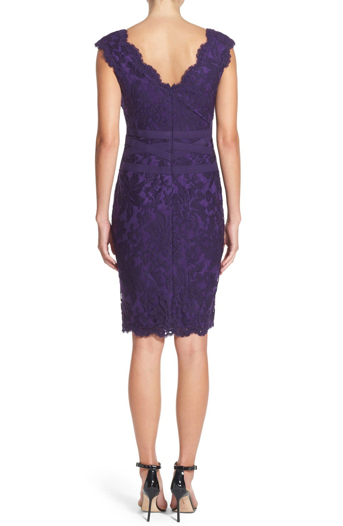 Alternate Image 2  - Tadashi Shoji Embroidered Lace Sheath Dress (Regular & Petite)