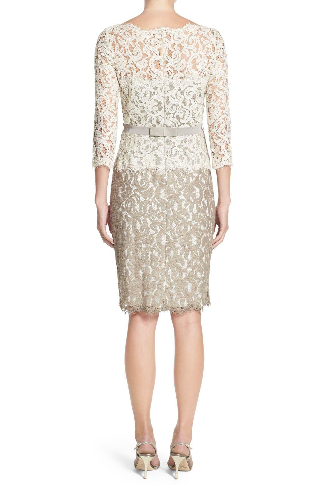 Alternate Image 2  - Tadashi Shoji Two-Tone Lace Sheath Dress (Regular & Petite)