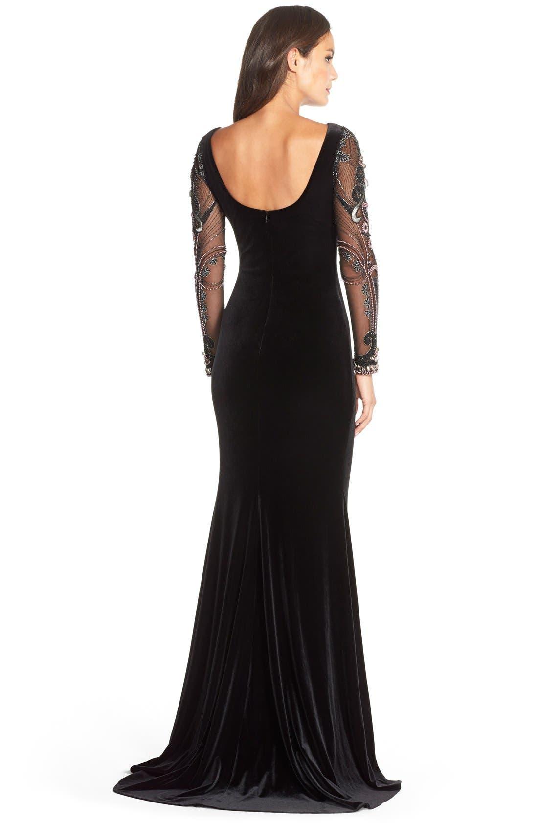 Alternate Image 2  - Badgley MischkaBeaded Mesh & Velvet Gown