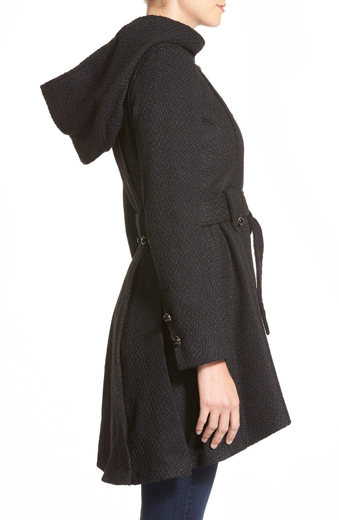 Alternate Image 3  - Steve Madden Belted Hooded Skirted Coat
