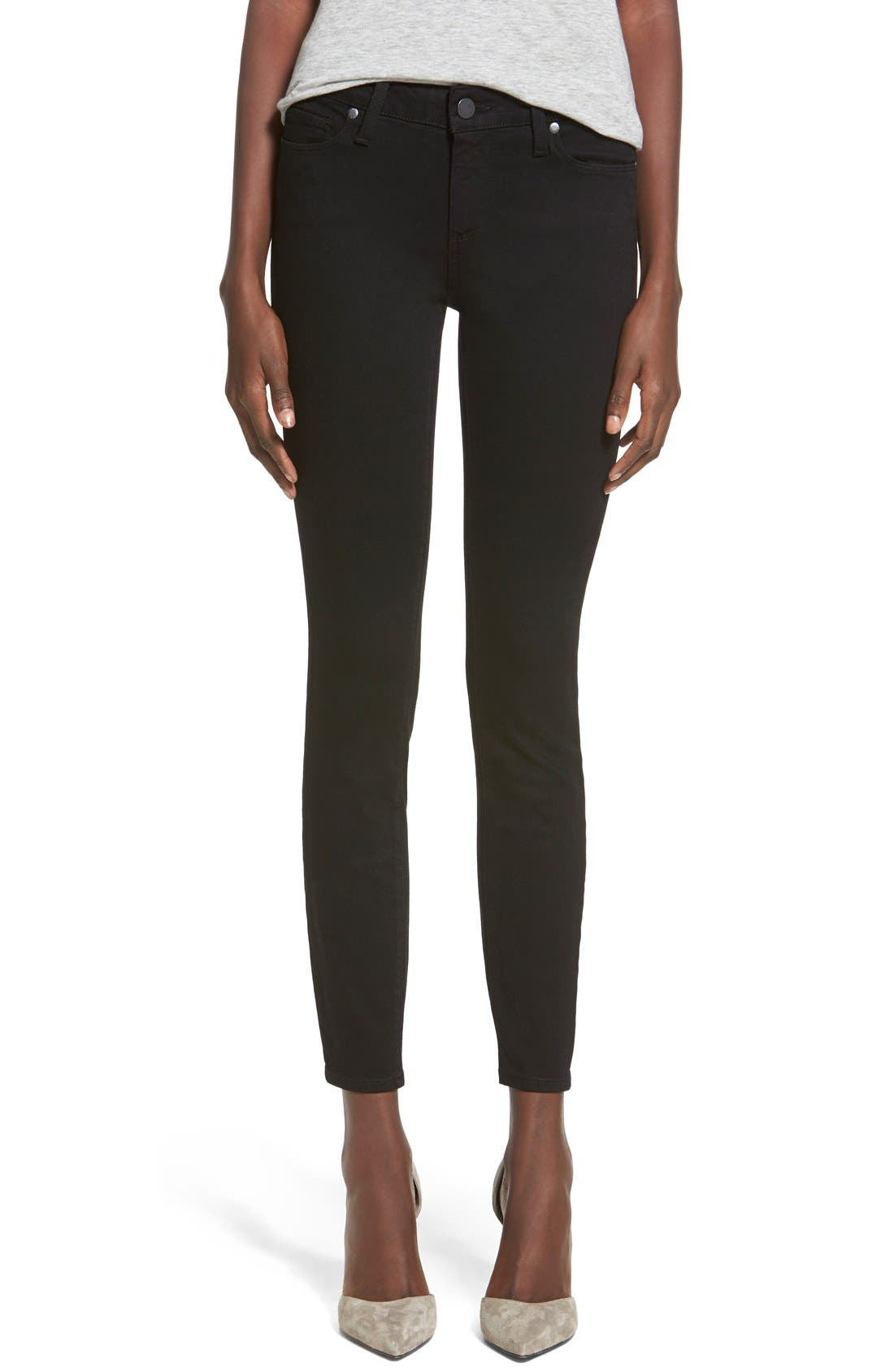Main Image - PAIGE 'Transcend - Verdugo' Ankle Ultra Skinny Jeans (Black Shadow)