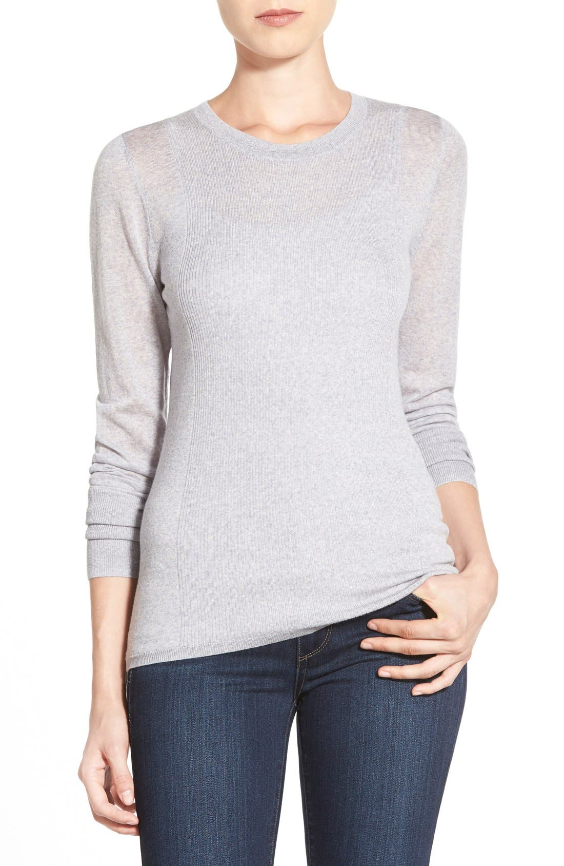 Main Image - Halogen® Rib Detail Lightweight Merino Wool Sweater (Regular & Petite)