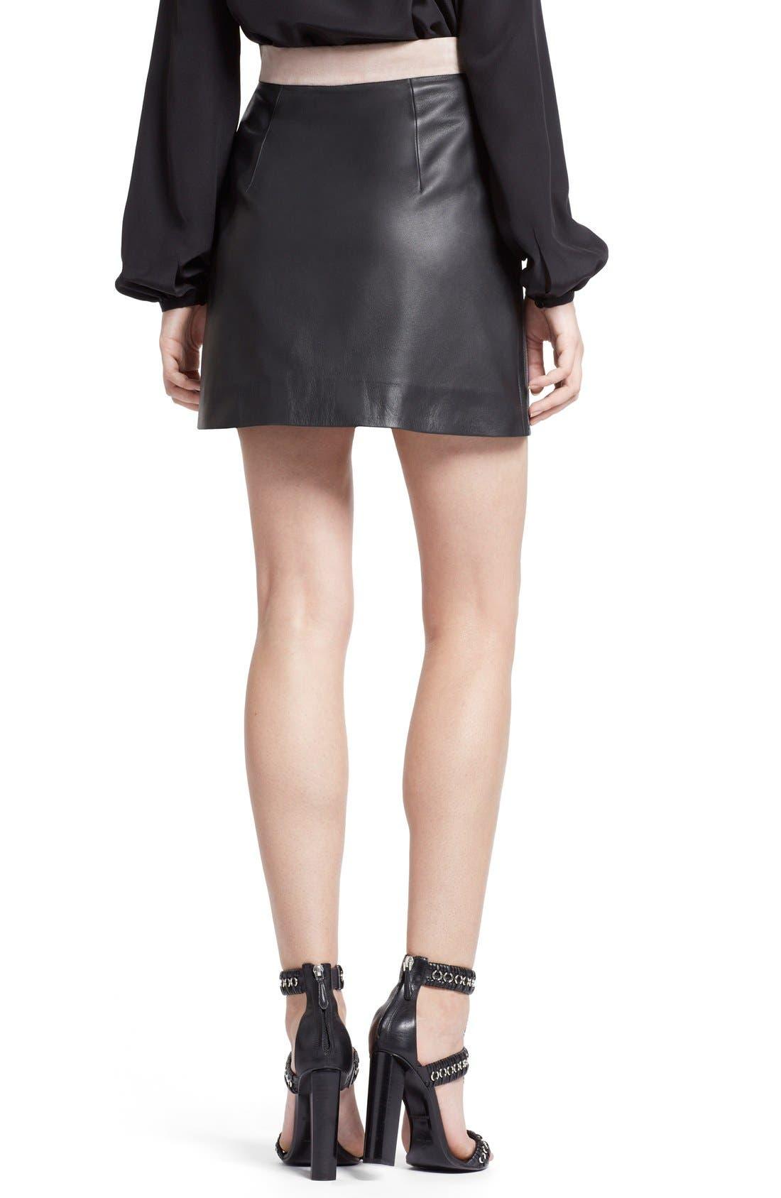 Alternate Image 2  - Emilio Pucci Zigzag Leather Miniskirt