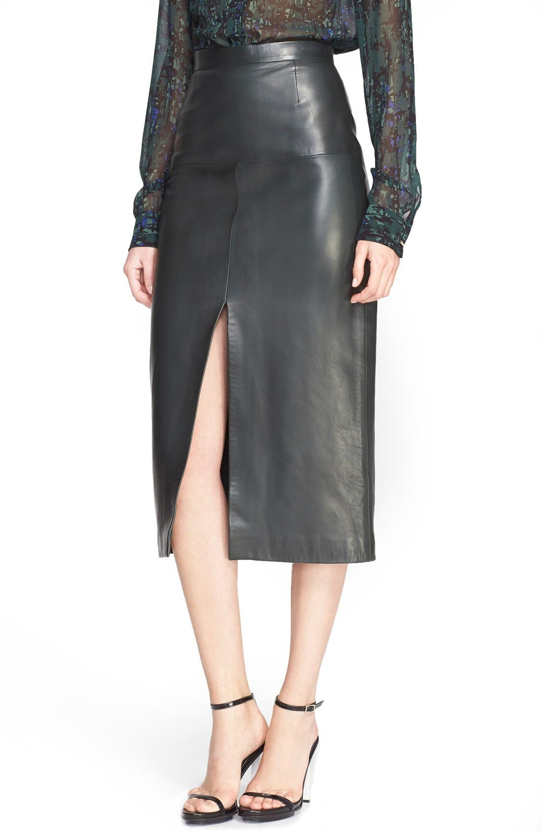 Jason Wu Front Slit Lambskin Leather Skirt | Nordstrom