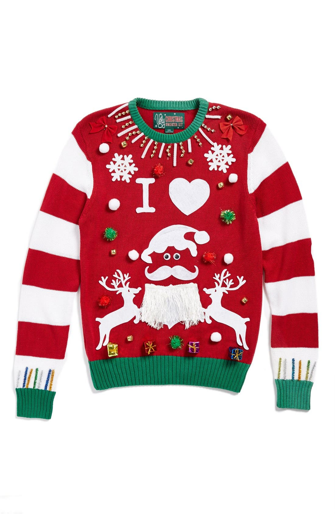 Alternate Image 1 Selected - Ugly Christmas Sweater 'Make Your Own - Red Stripe' Sweater Kit