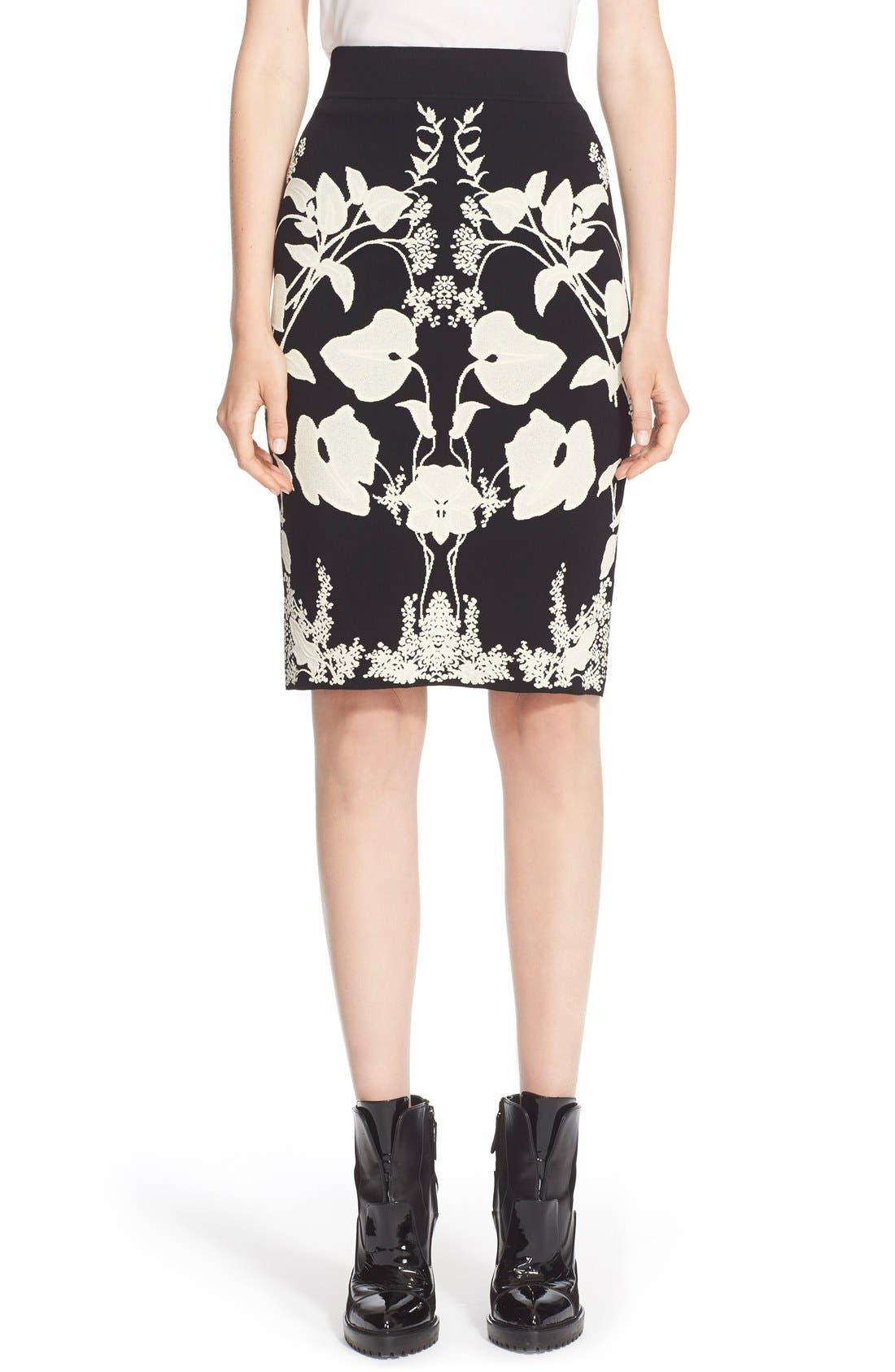 Alternate Image 1  - Alexander McQueen 'Belle Epoque' Floral Pattern Jacquard Pencil Skirt