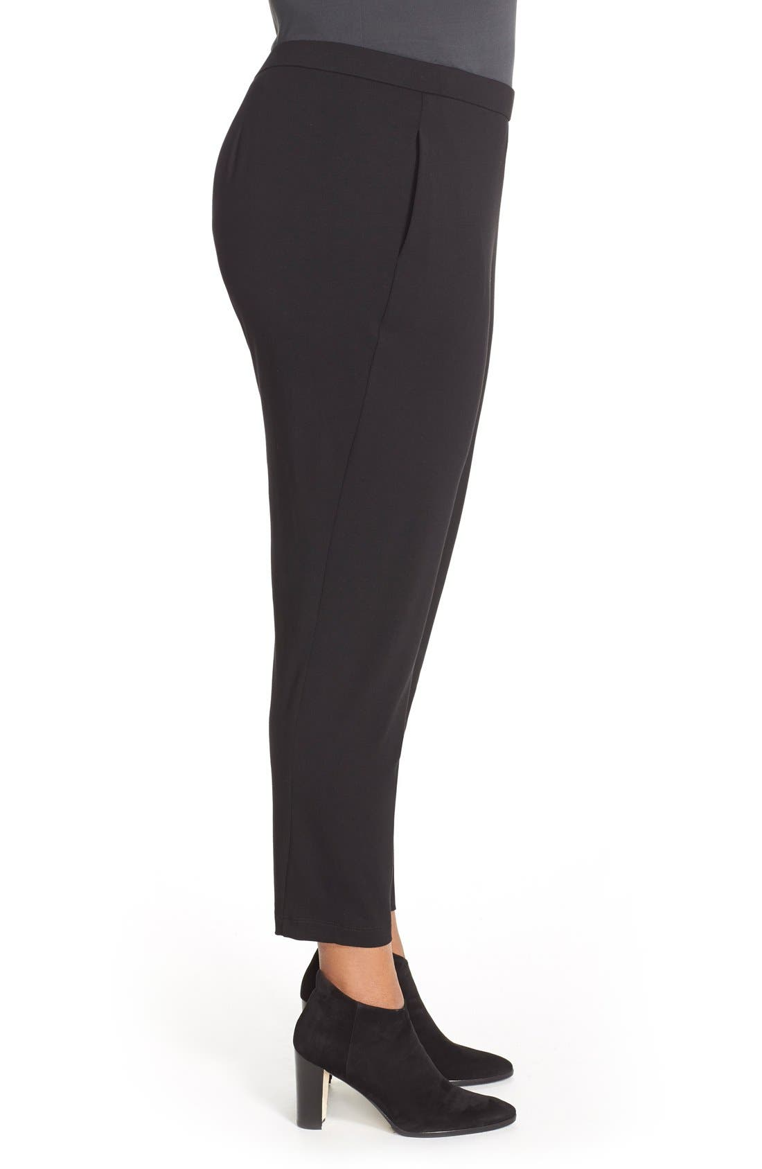 Alternate Image 3  - Eileen Fisher Slim Jersey Ankle Pants (Plus Size)