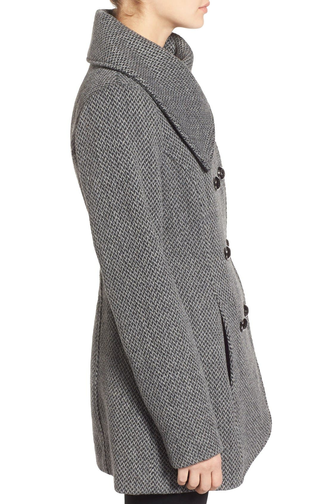 Alternate Image 3  - Jessica Simpson Double Breasted Basket Weave Coat (Online Only)