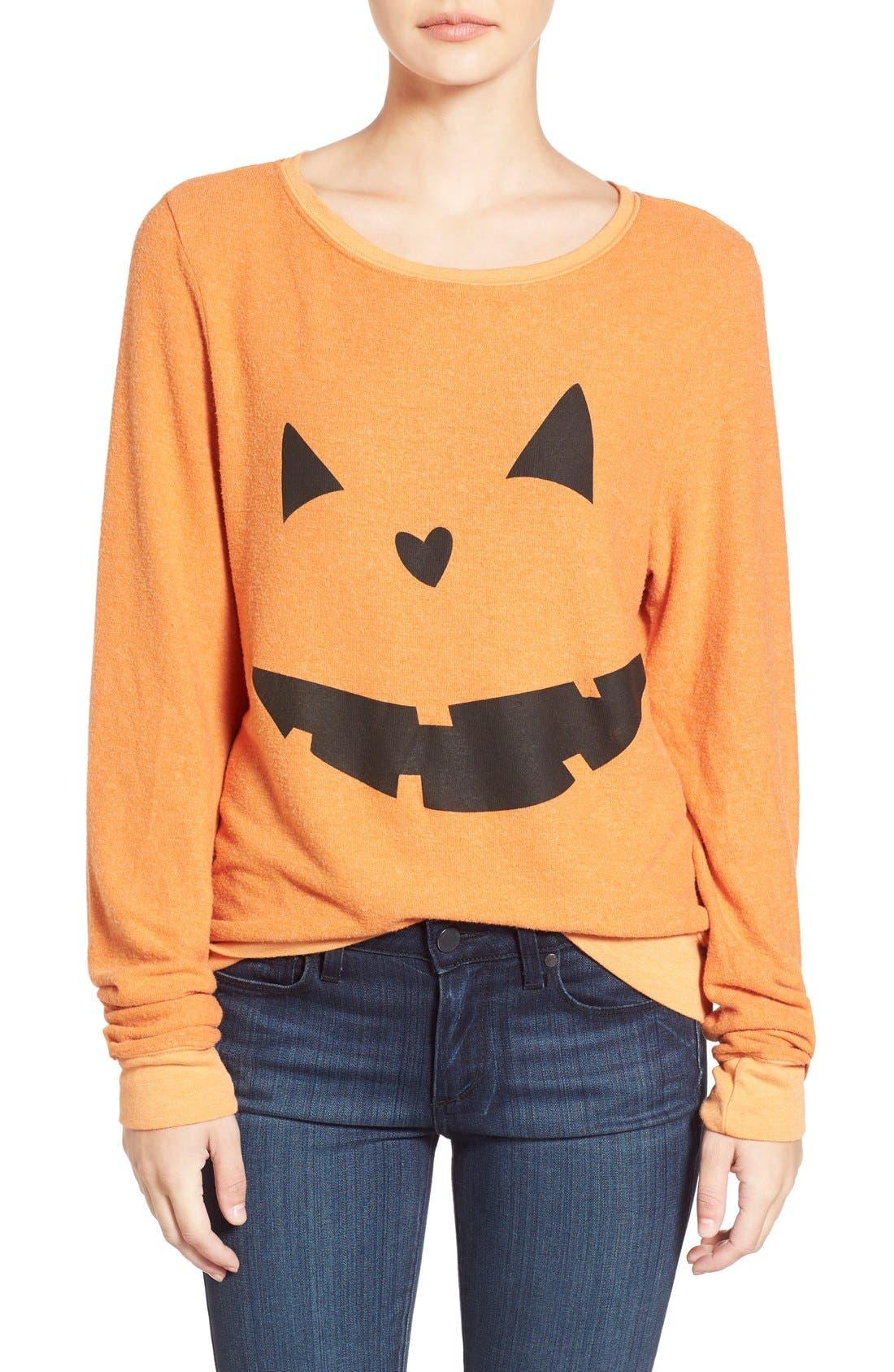 Main Image - Wildfox'Baggy Beach Jumper -Pumpkin Love' Pullover