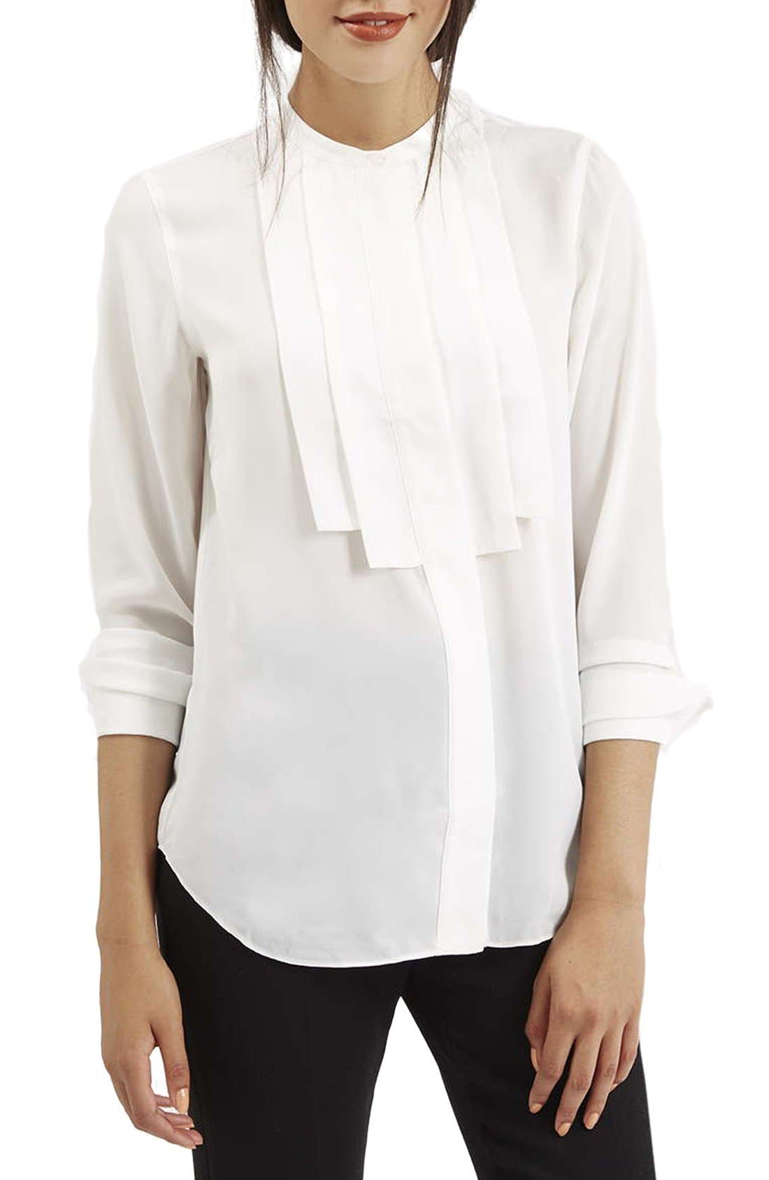 Main Image - Topshop Pleated Bib Button Front Shirt
