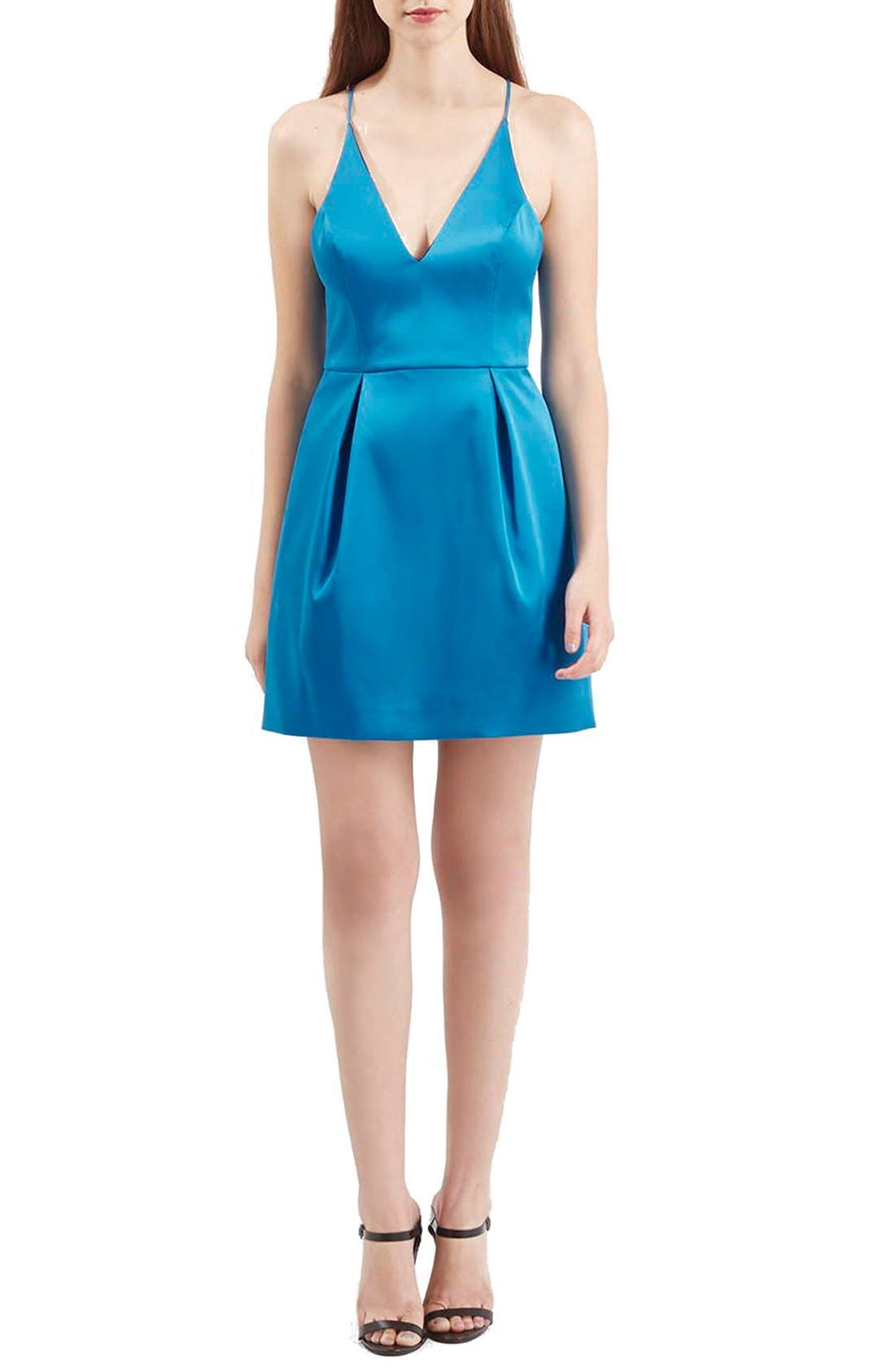 Alternate Image 2  - Topshop V-Neck Satin Minidress