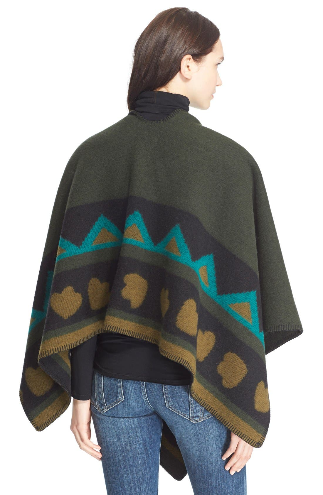 Alternate Image 2  - Burberry Brit Angular Patchwork Wool & CashmerePoncho