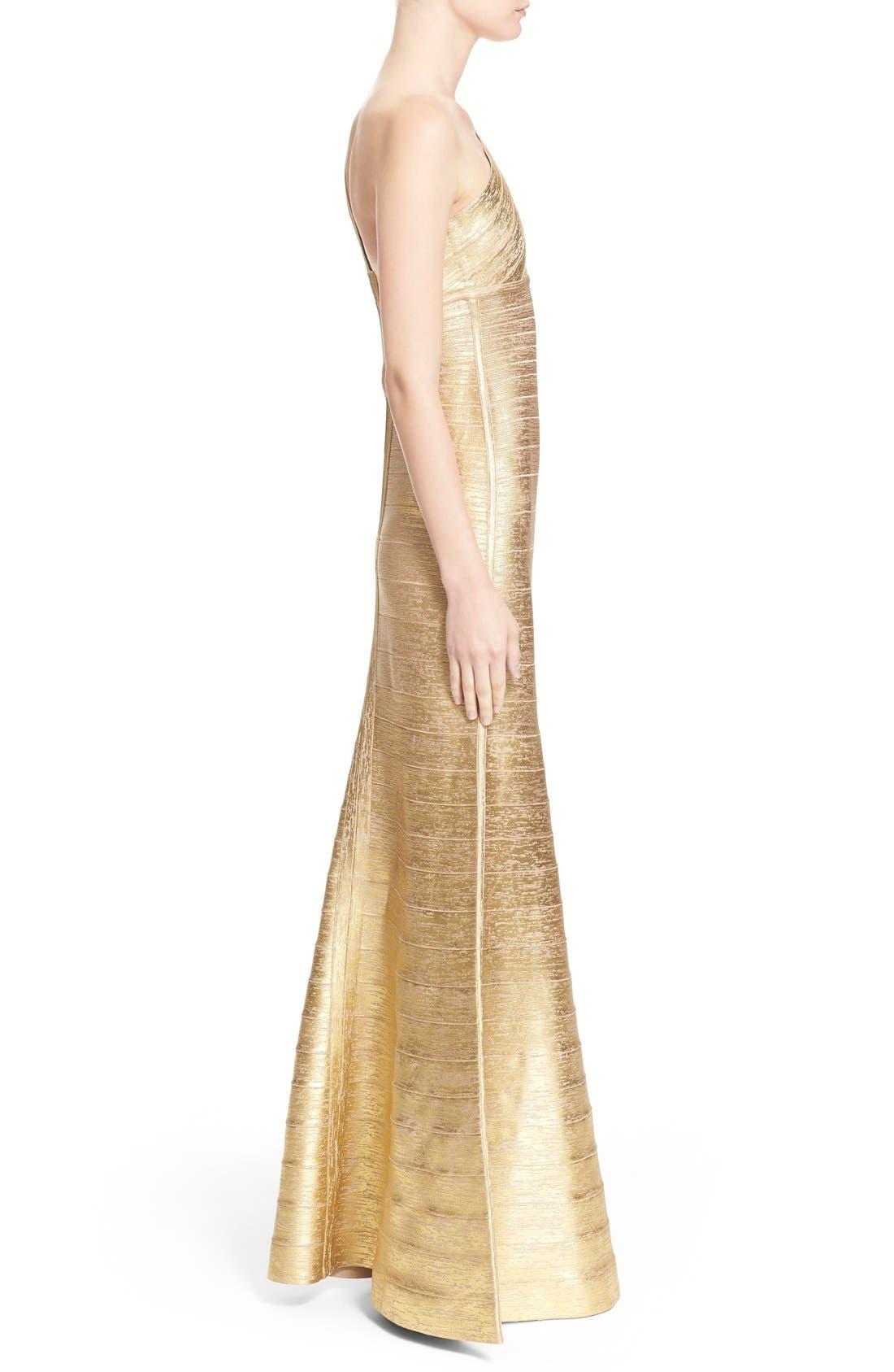 Alternate Image 5  - Herve Leger 'Lilyanna' One-Shoulder Woodgrain Metallic Gown