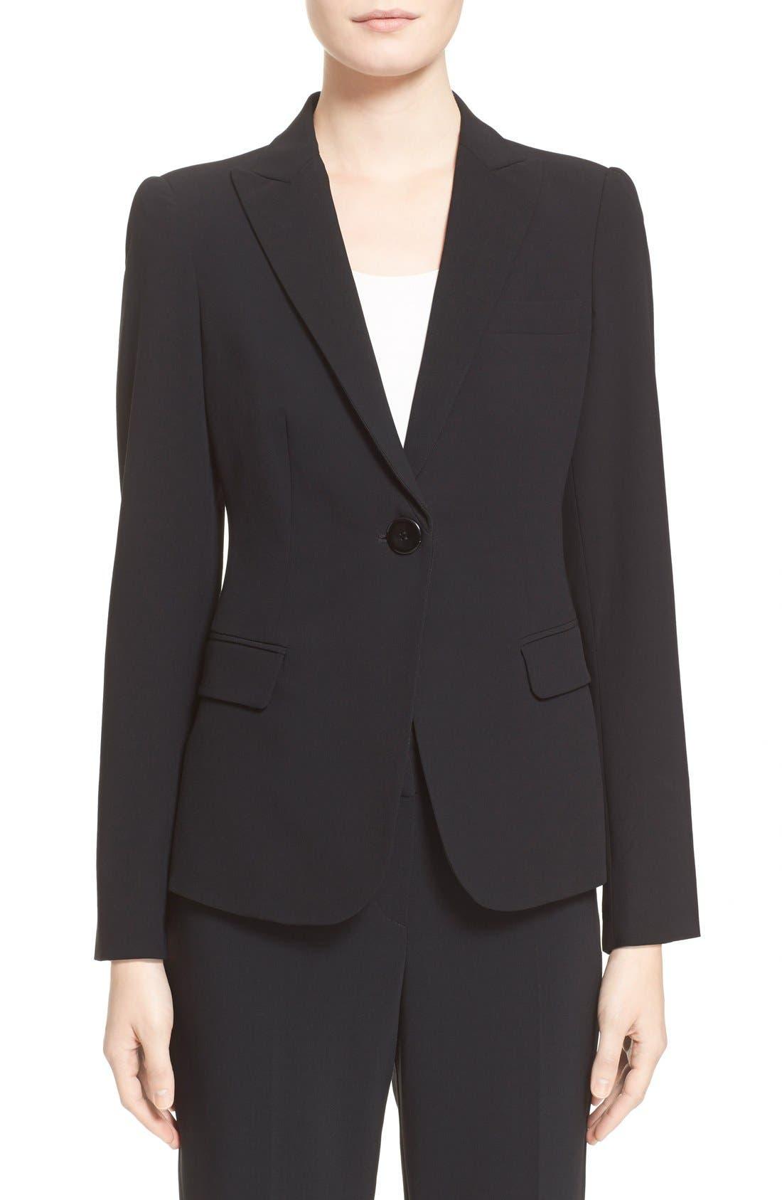 Main Image - Armani Collezioni Single Button Wool Jacket