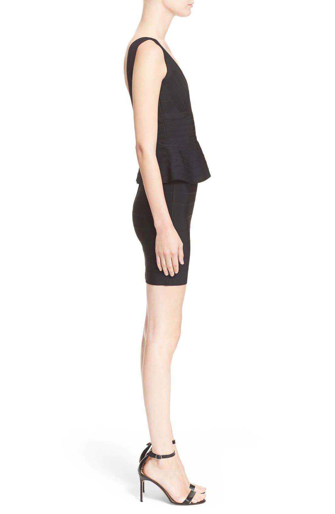 Alternate Image 4  - Herve Leger Sleeveless V-Neck Peplum Dress