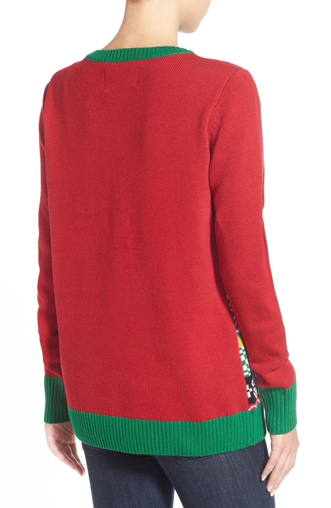 Alternate Image 2  - Ugly Christmas Sweater 'Penguin' Light-Up Fair Isle Knit Sweater