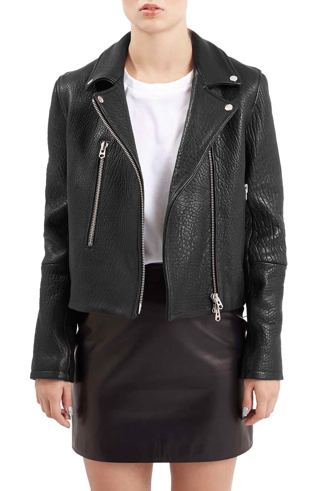 Main Image - Topshop Boutique Leather Biker Jacket