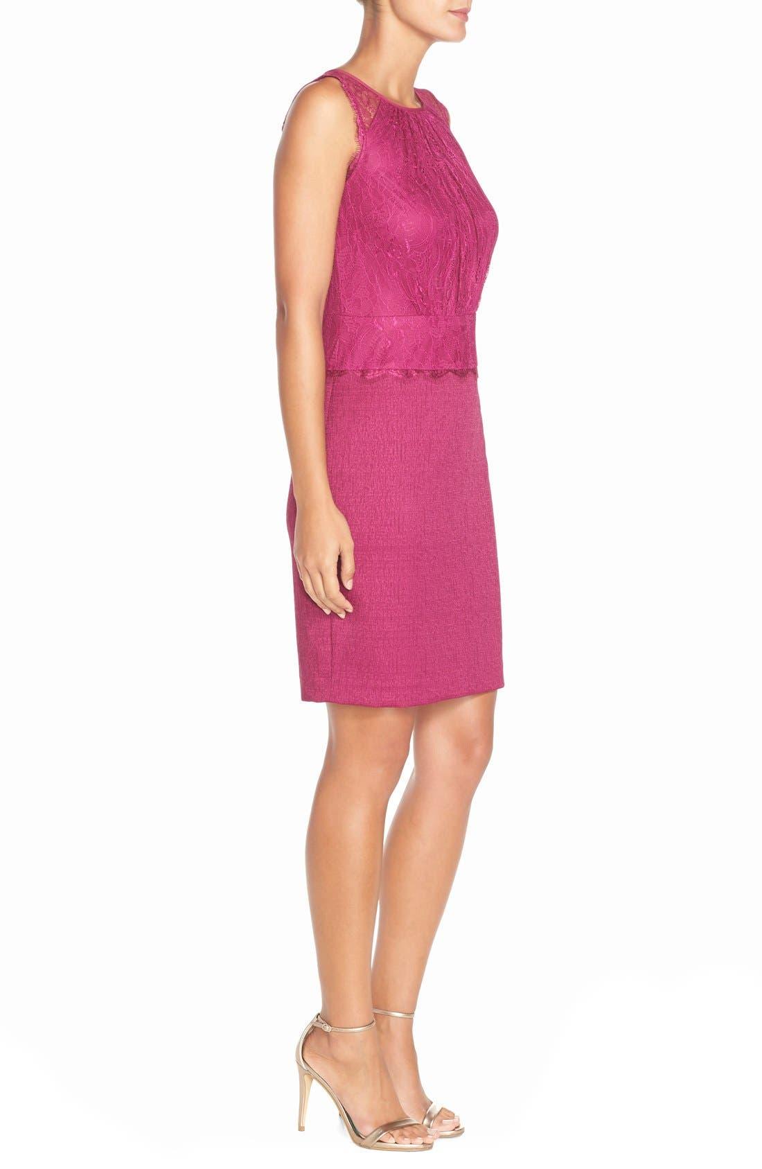 Alternate Image 3  - Adrianna Papell Lace & Jacquard Blouson Dress (Regular & Petite)