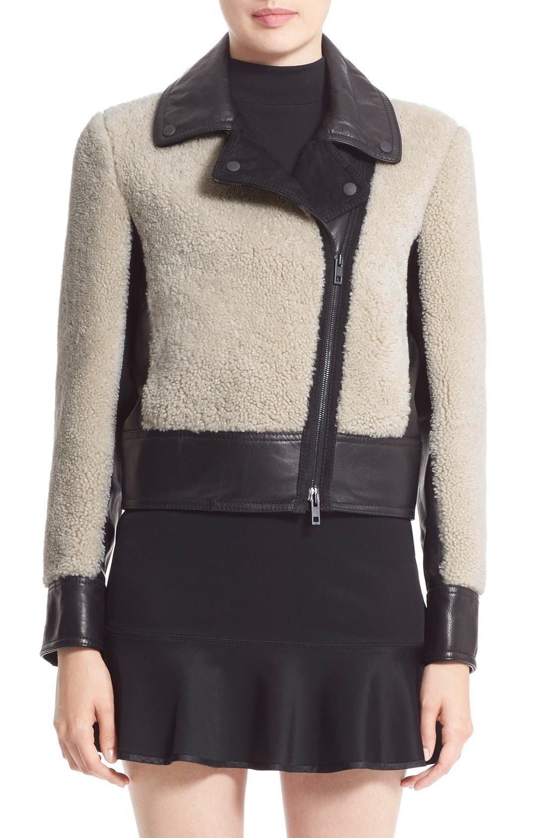 Alternate Image 1 Selected - rag & bone 'Billie' Leather TrimGenuine Shearling Jacket