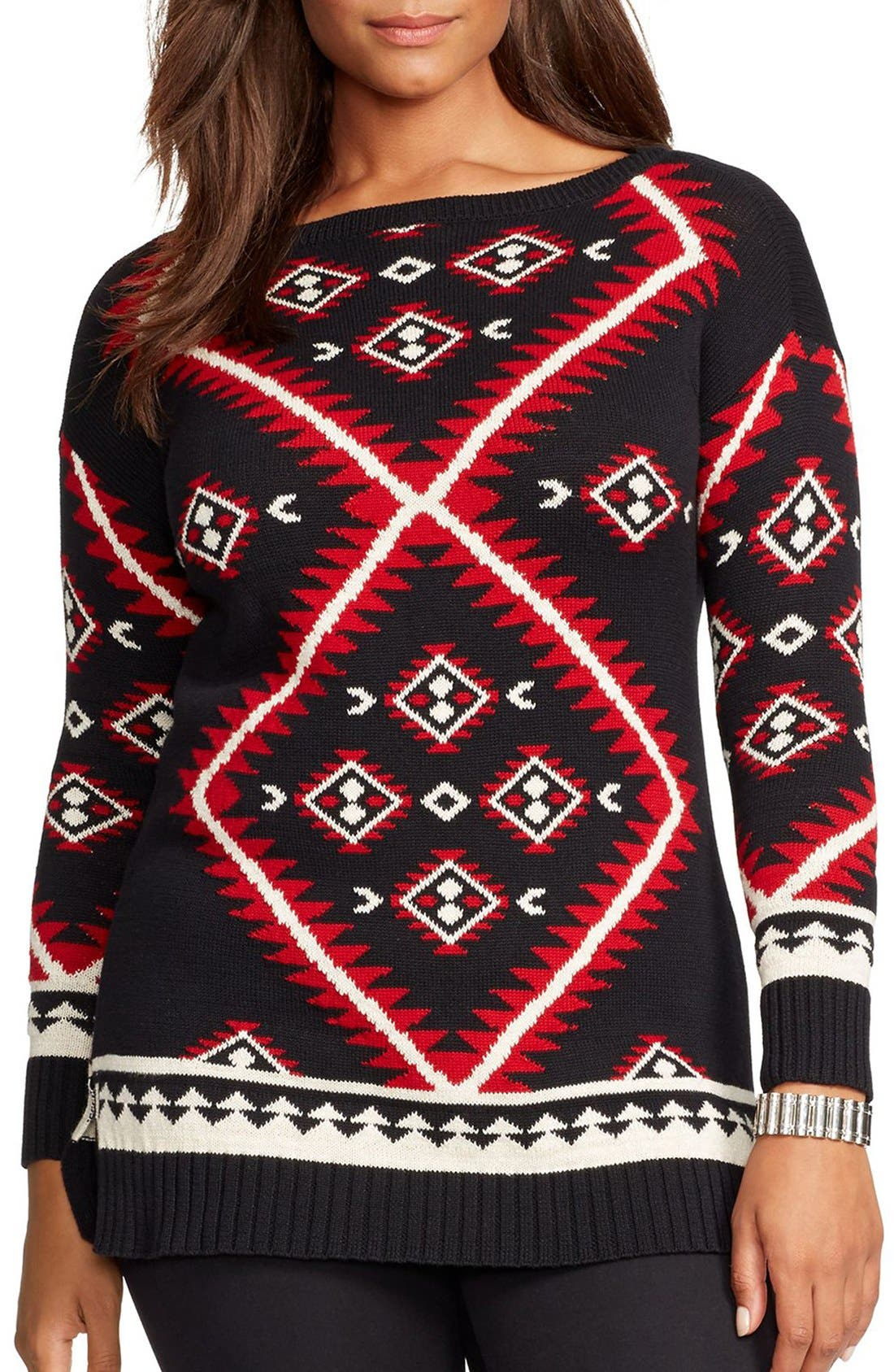 Alternate Image 1 Selected - Lauren Ralph Lauren Geometric Pattern Sweater (Plus Size)