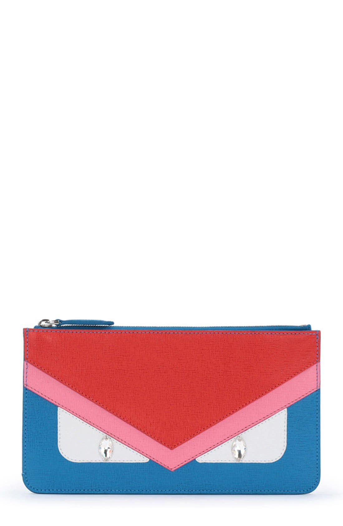 Alternate Image 1 Selected - Fendi 'Monster' Leather Zip Pouch