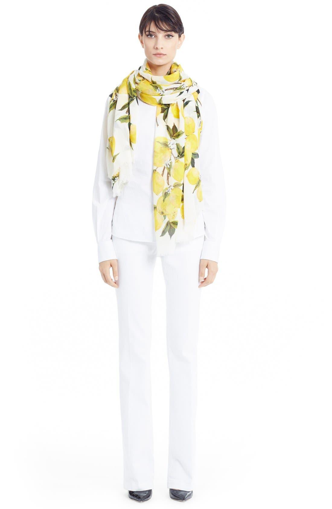 Alternate Image 3  - Dolce&Gabbana Lemon Print Modal & Cashmere Scarf
