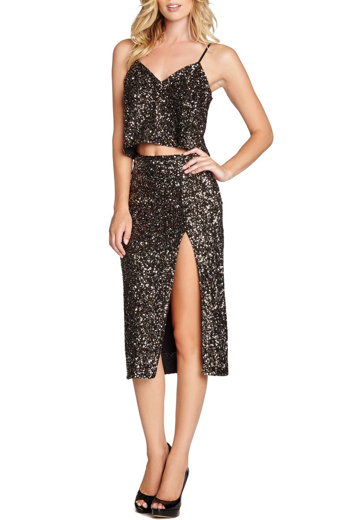 Main Image - Dress the Population 'Alessandra' Sequin Midi Skirt