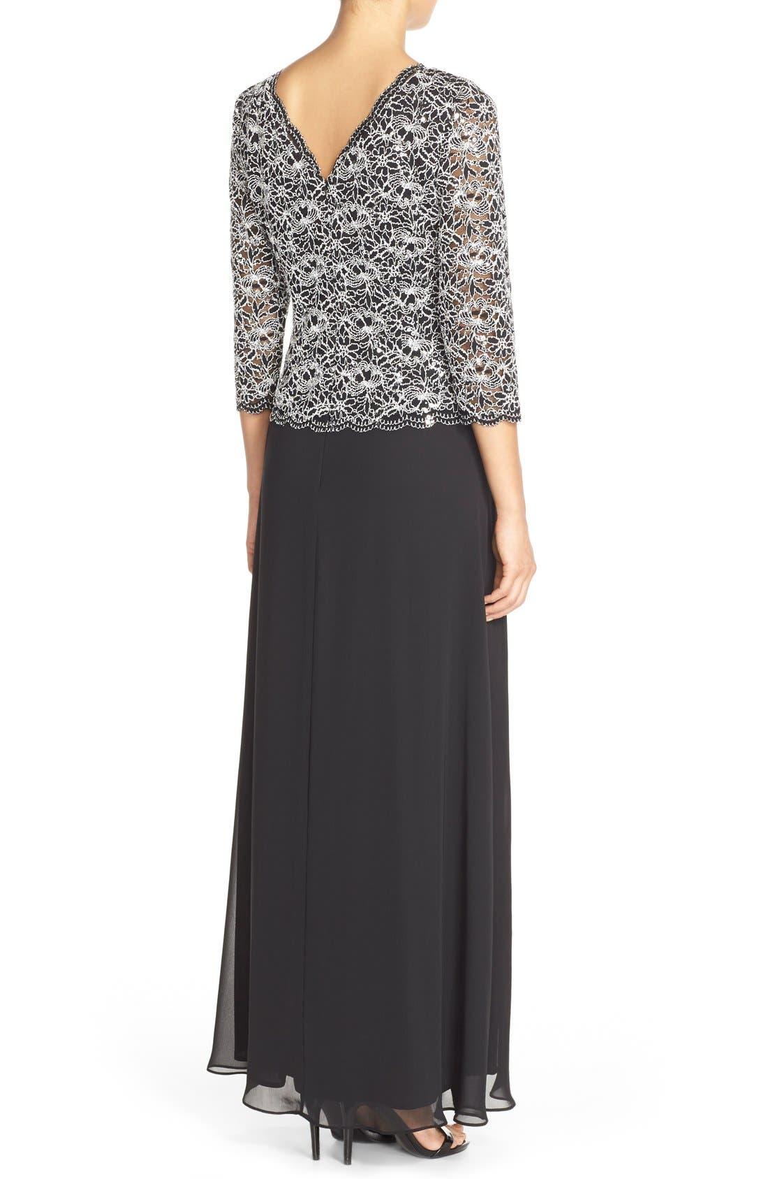 Alternate Image 2  - Alex Evenings Lace & Chiffon Mock Two-Piece Gown (Regular & Petite)