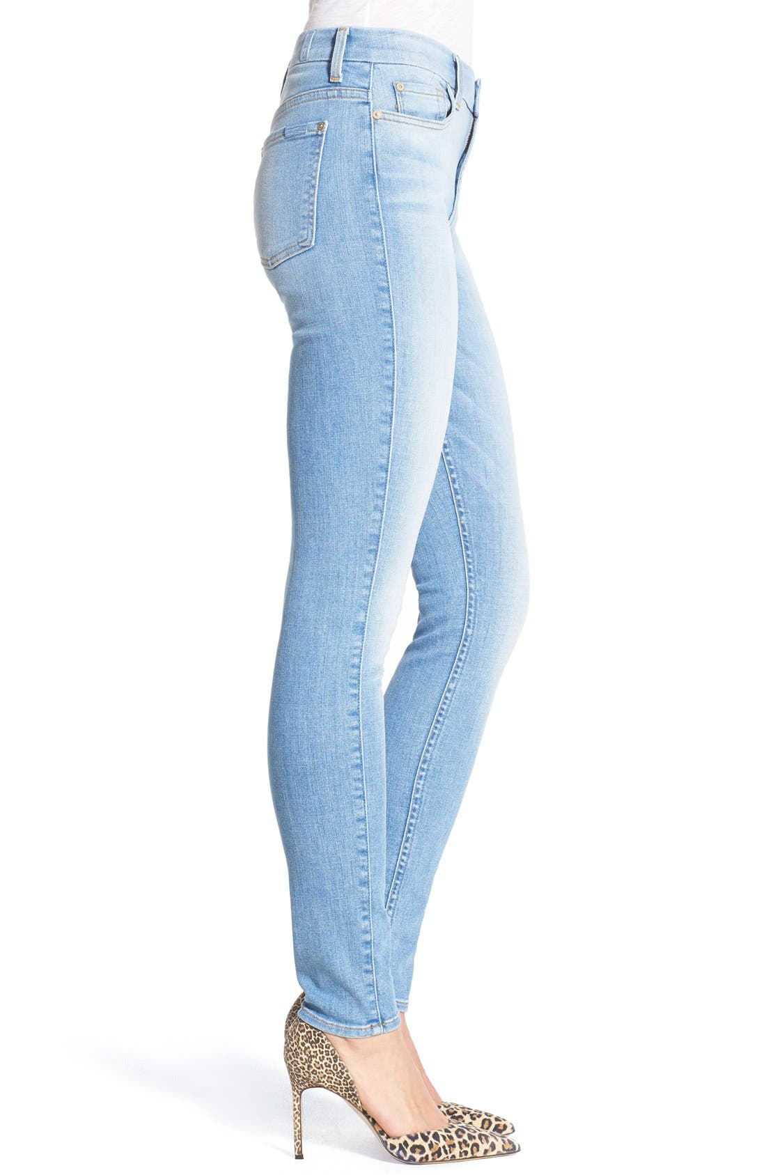 Alternate Image 3  - 7 For All Mankind® High Rise Skinny Jeans (Mediterranean Sky)