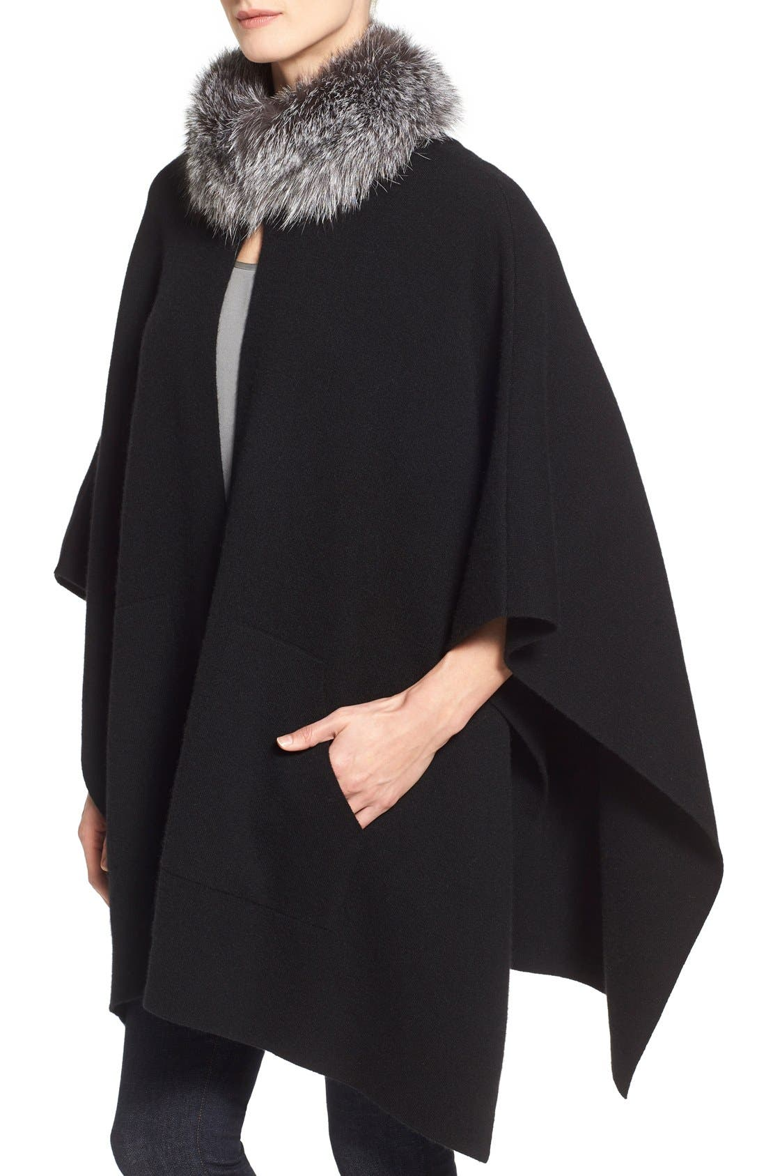 Alternate Image 4  - Sofia Cashmere Genuine Fox Fur Collar Cashmere Cape
