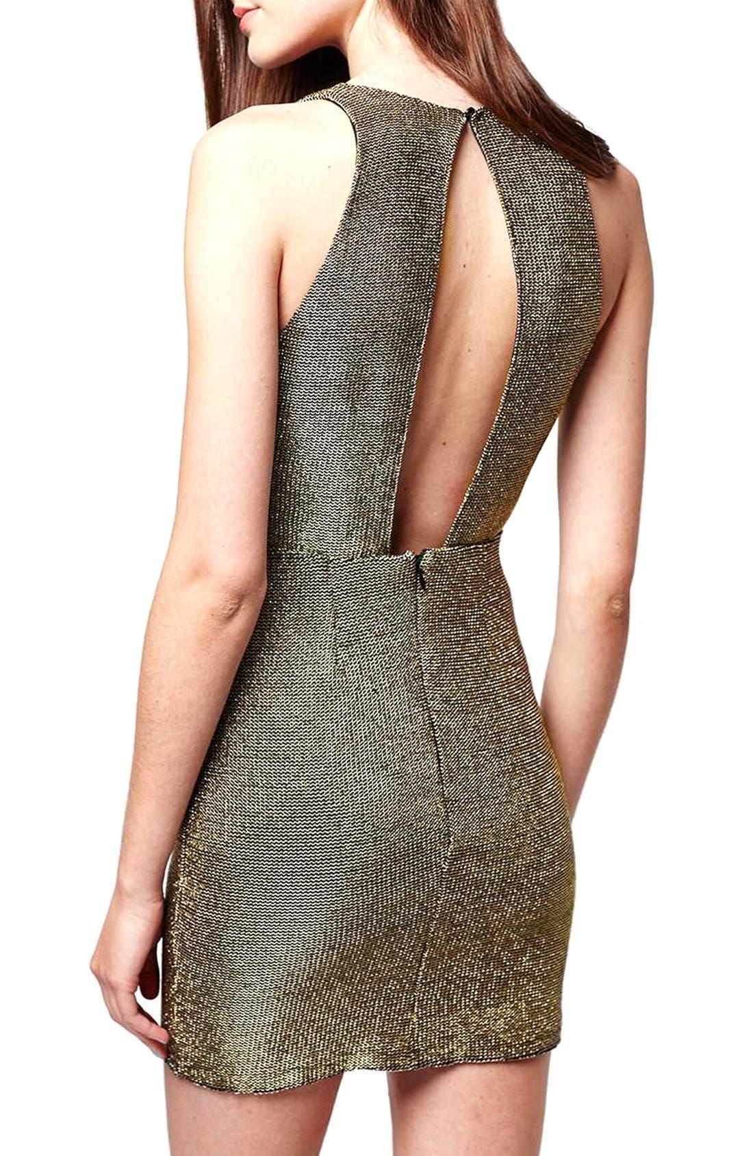 Alternate Image 2  - Topshop Metallic Body-Con Dress